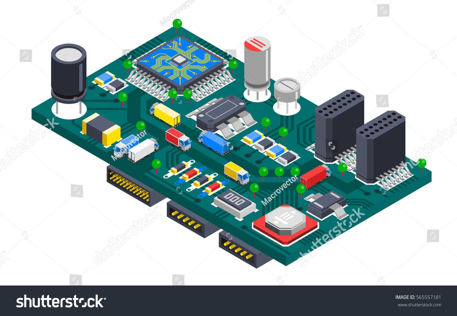 Semiconductor Electronic Circuit Board Isometric Composition Stock Jam With Silicon Chips And Cargo Trucks Driving On Wire Tracks