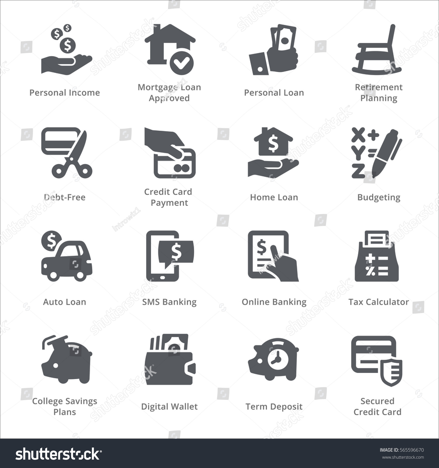 personal business finance icons set 2 stock vector