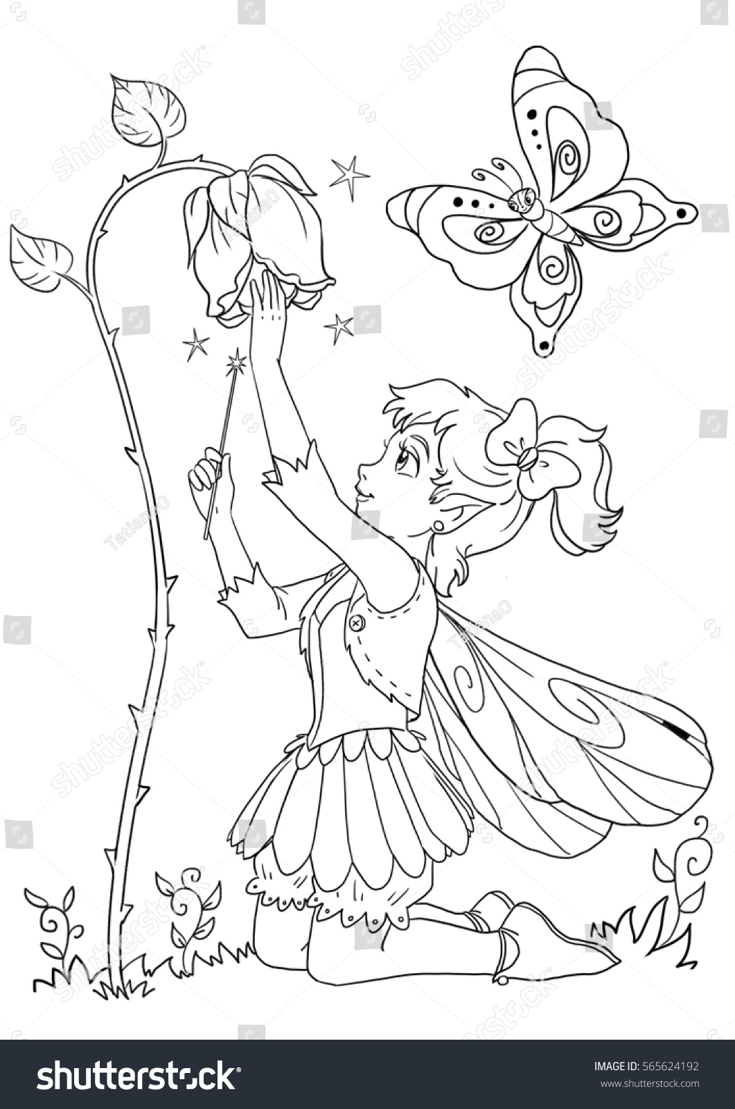 vertical coloring page cute elf stock illustration 565624192