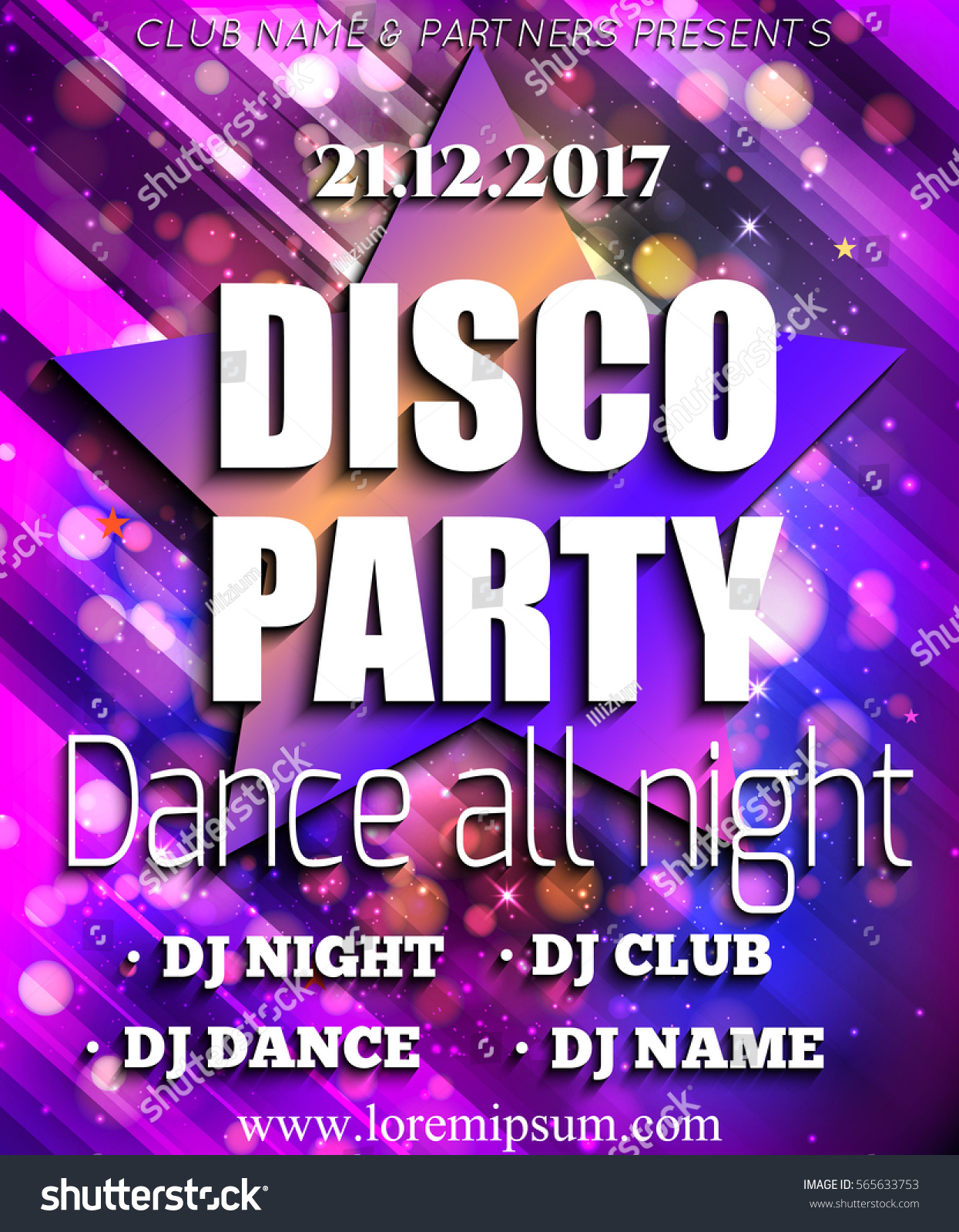 Royalty-free Disco Party Poster Background Template.… #565633753 ...
