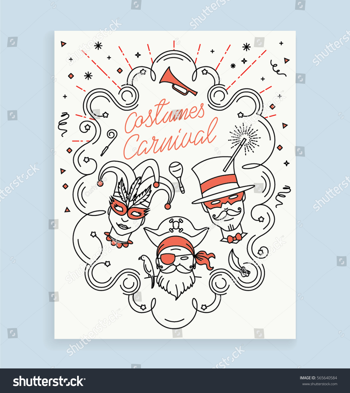 Line Art Card Design : Costumes carnival invitation card design iconic stock
