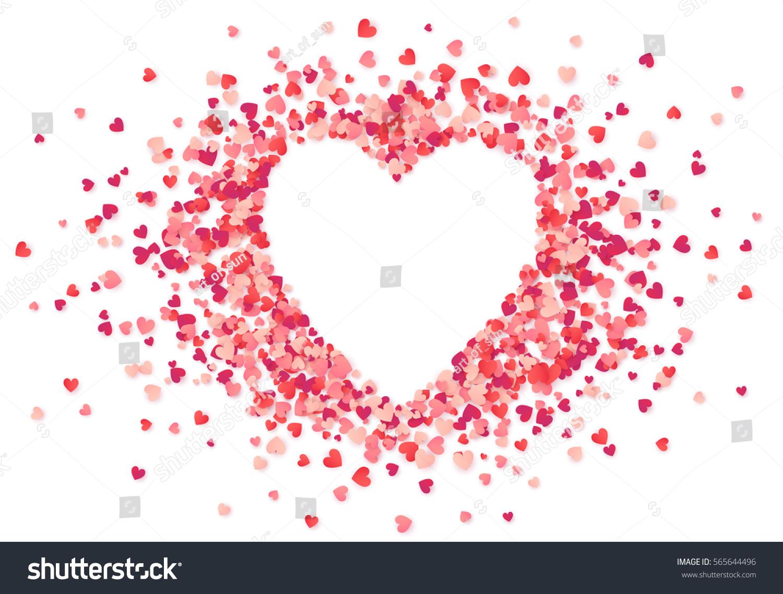 Heart Shape Vector Pink Confetti Splash Stock Vector (Royalty Free ...