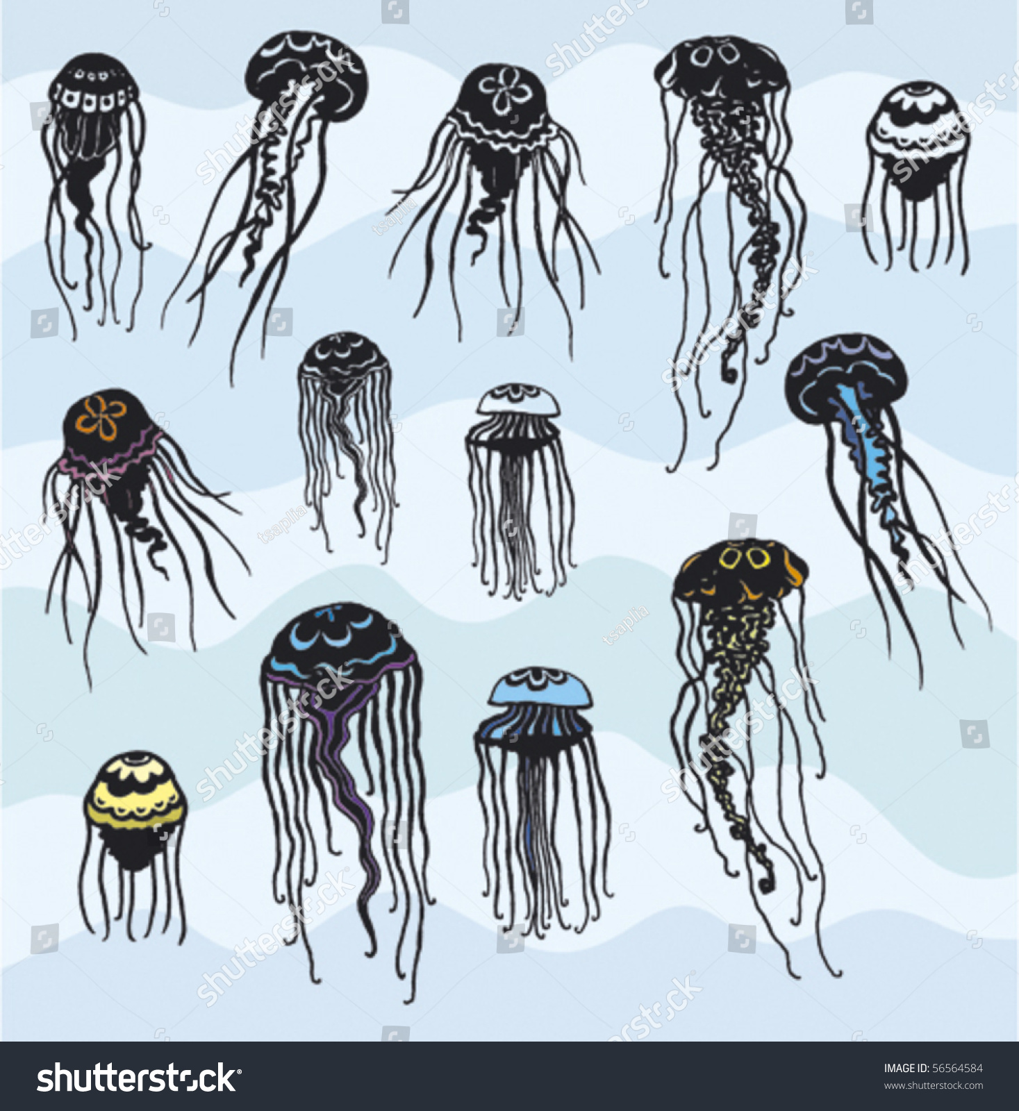 Set Stylized Jellyfish Stock Vector (Royalty Free) 56564584 ...