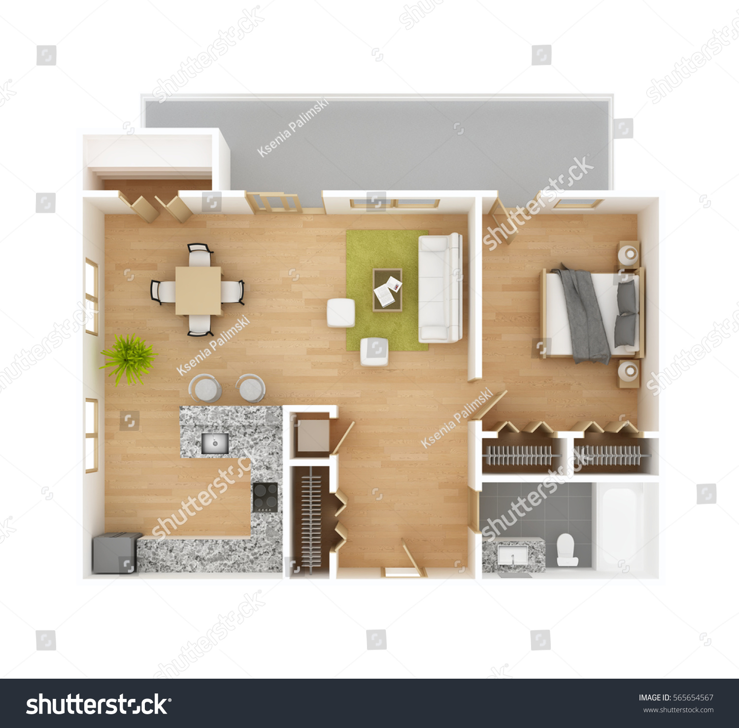 Apartment floor plan top view isolated stock illustration for Apartment stock plans