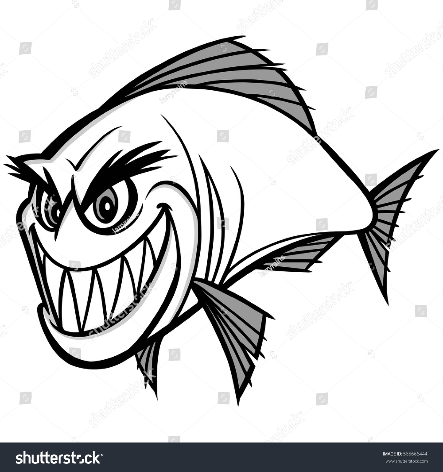 Piranha Illustration Vector de stock565666444: Shutterstock