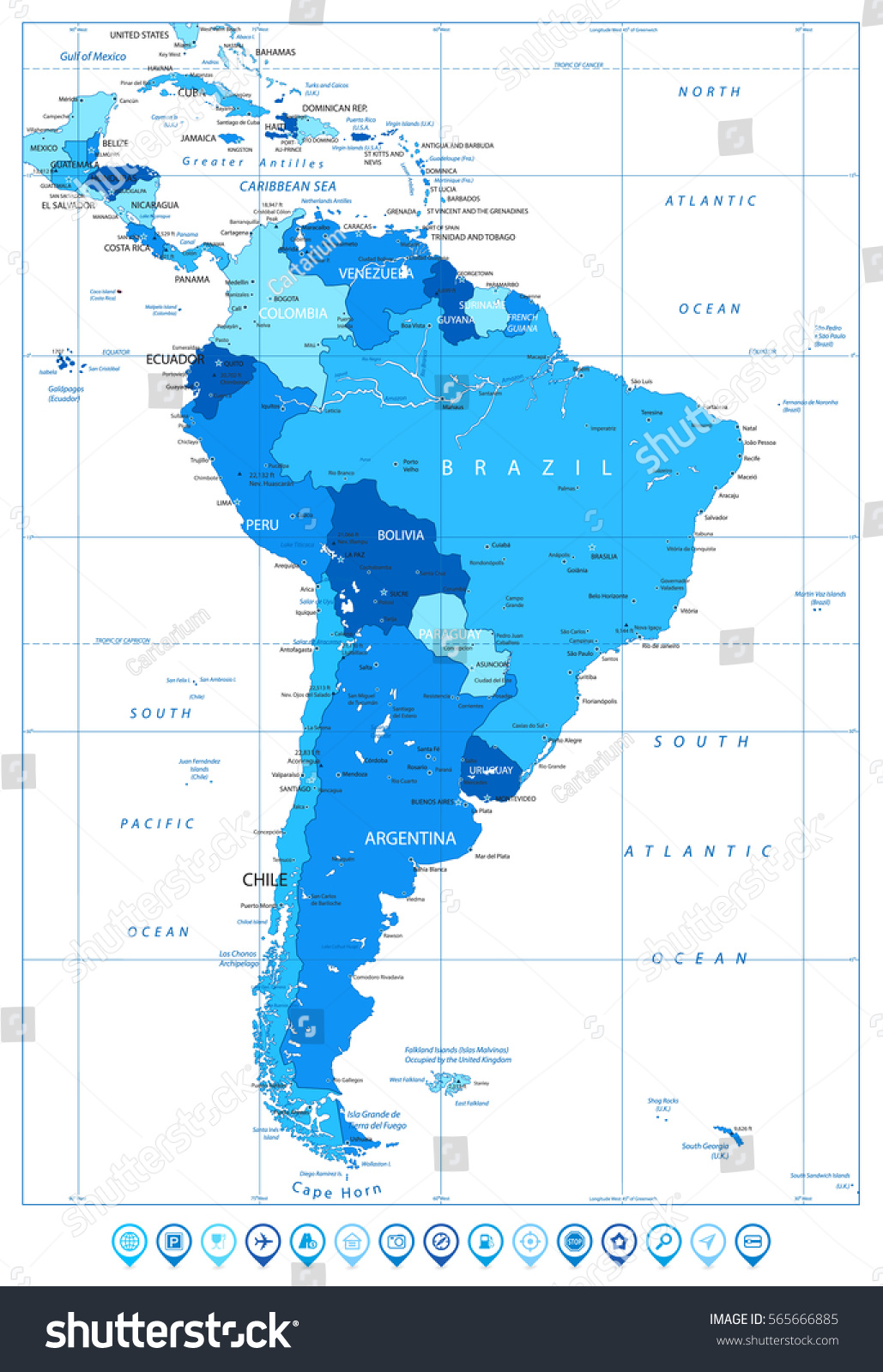 Cape Horn On South America Map.Detailed Map South America Colors Blue Stock Vector Royalty Free