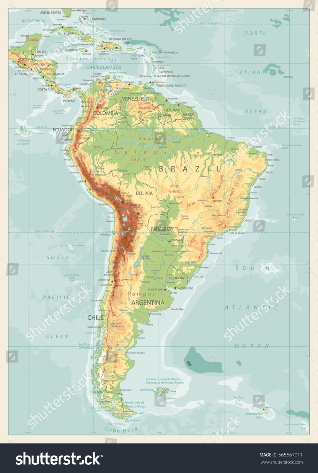 Map Of America Rivers.Retro Color Physical Map South America Stock Vector Royalty Free