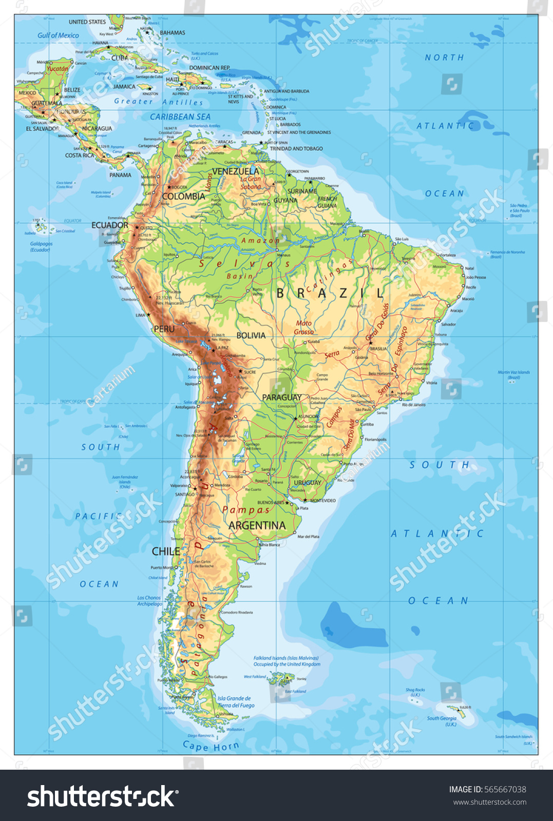 South america detailed physical map global stock vector 565667038 south america detailed physical map with global relief roads lakes and rivers highly gumiabroncs Choice Image