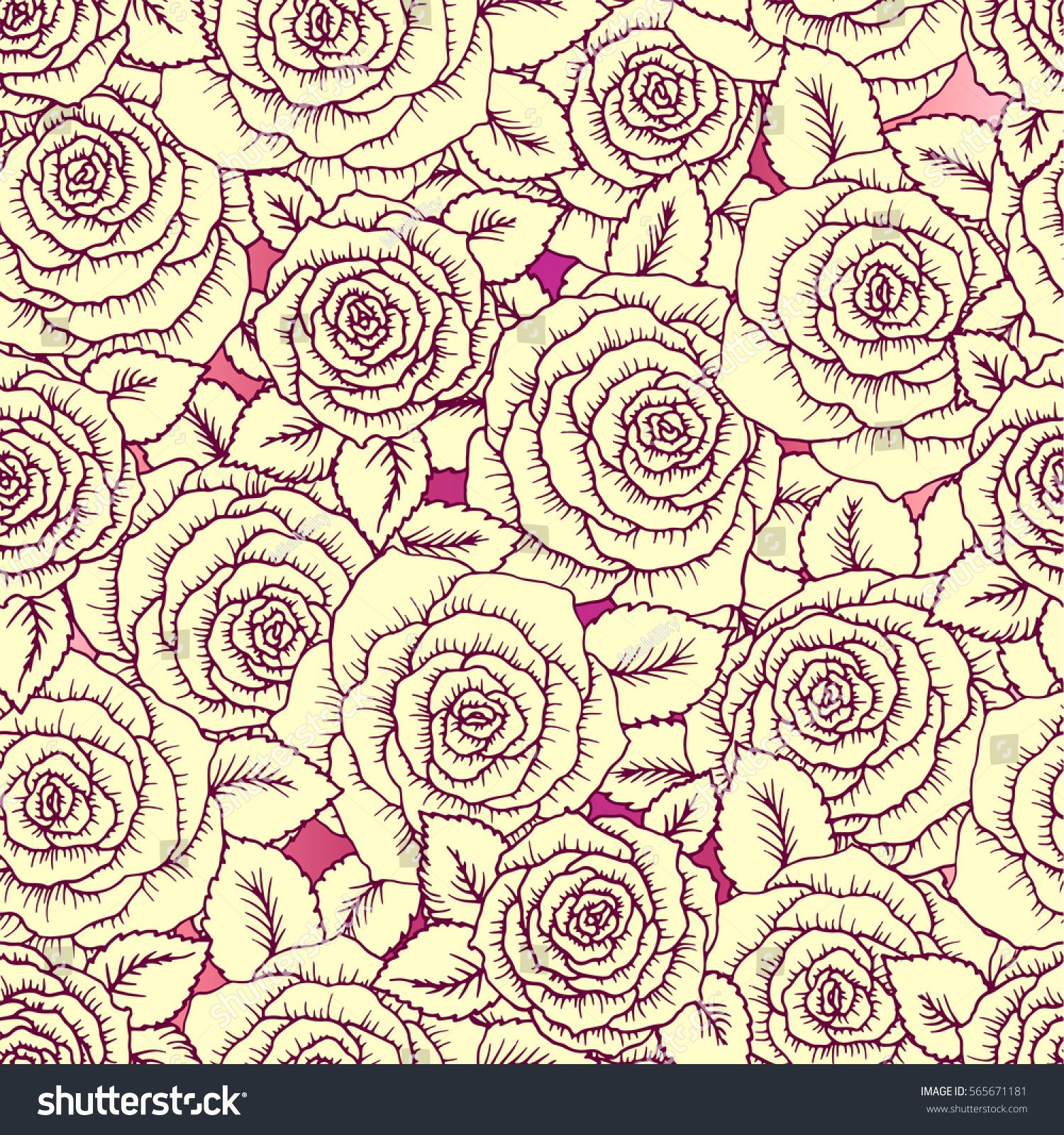 Beautiful Pink And Vintage Yellow Seamless Pattern Made Of Roses