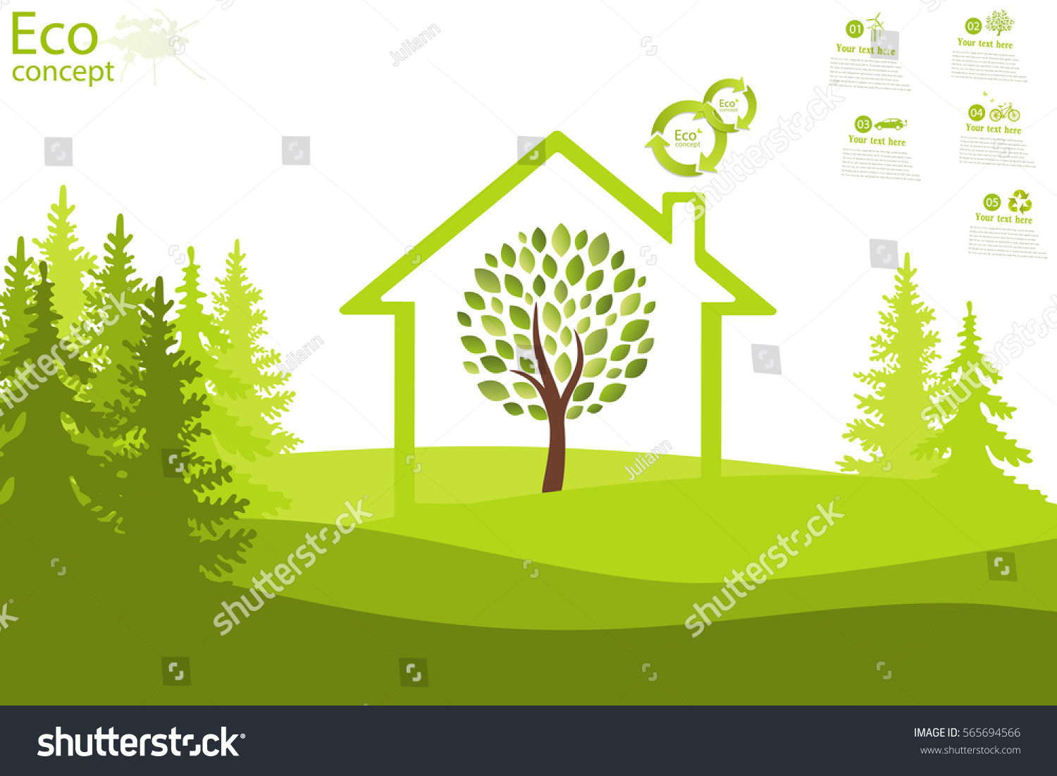 tree inside house on green grass stock vector 565694566 shutterstock. Black Bedroom Furniture Sets. Home Design Ideas