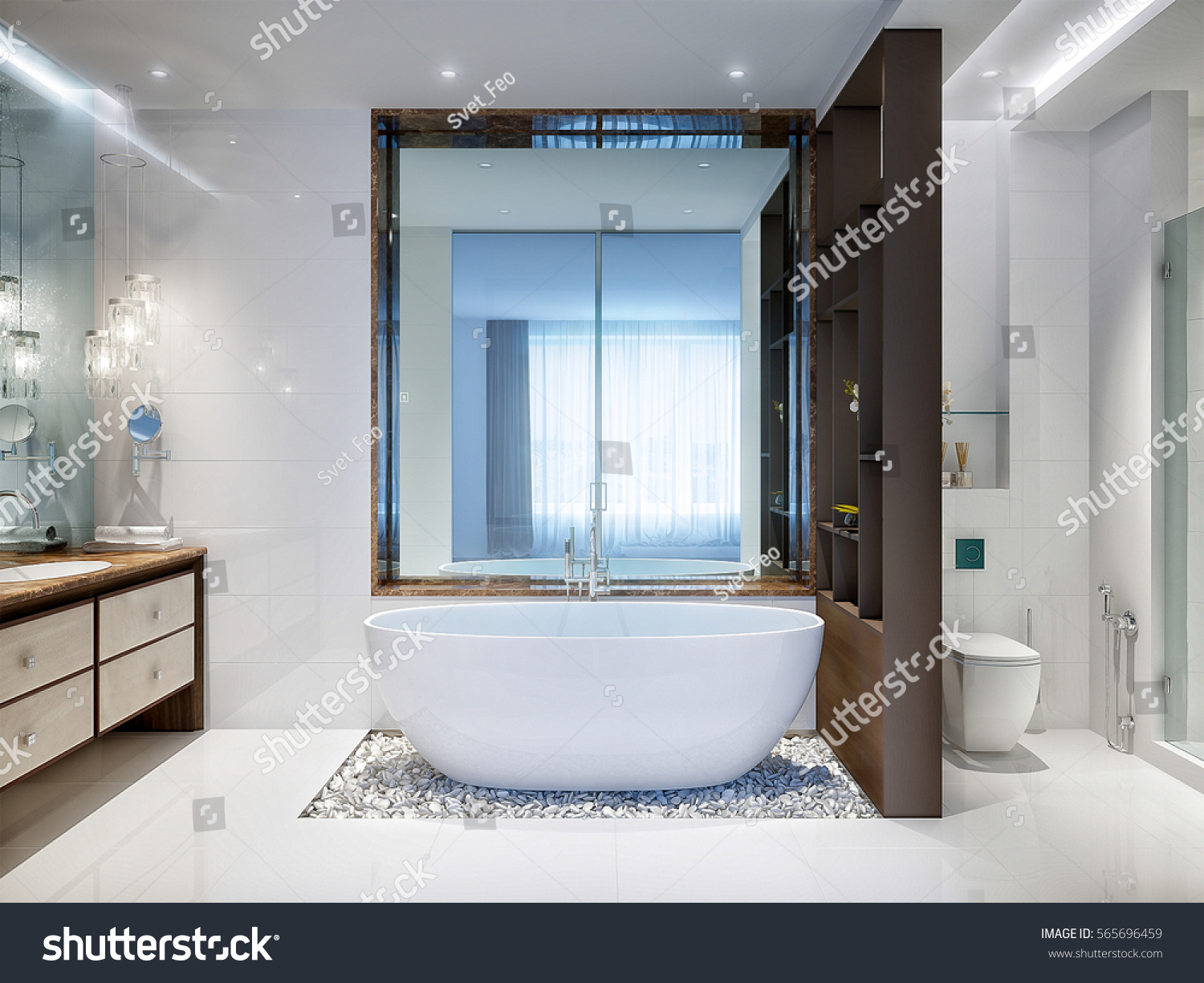 Spacious Bright Modern Bathroom White Tile Stock Illustration ...