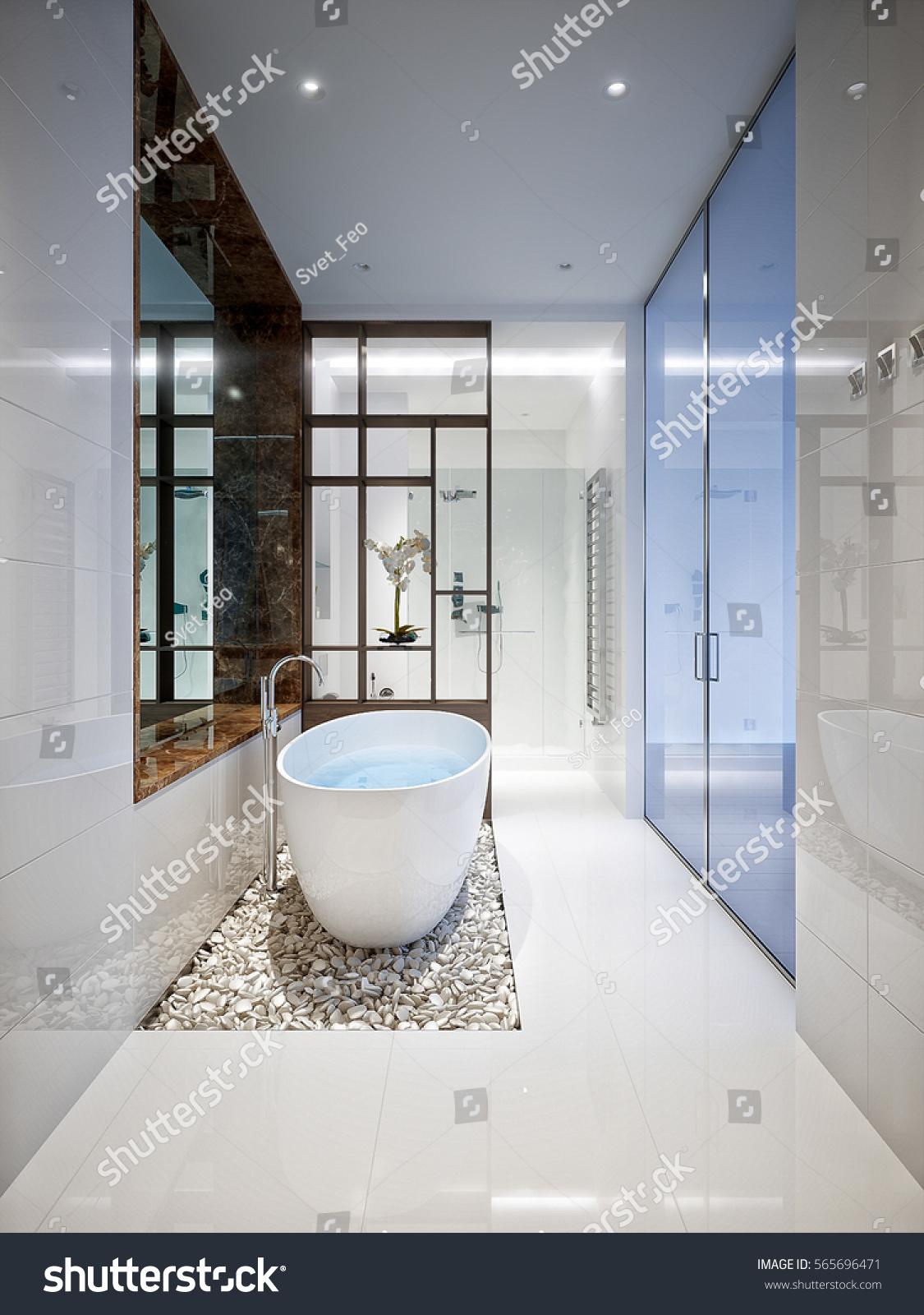 Spacious Bright Modern Bathroom White Tile Stock Illustration ...