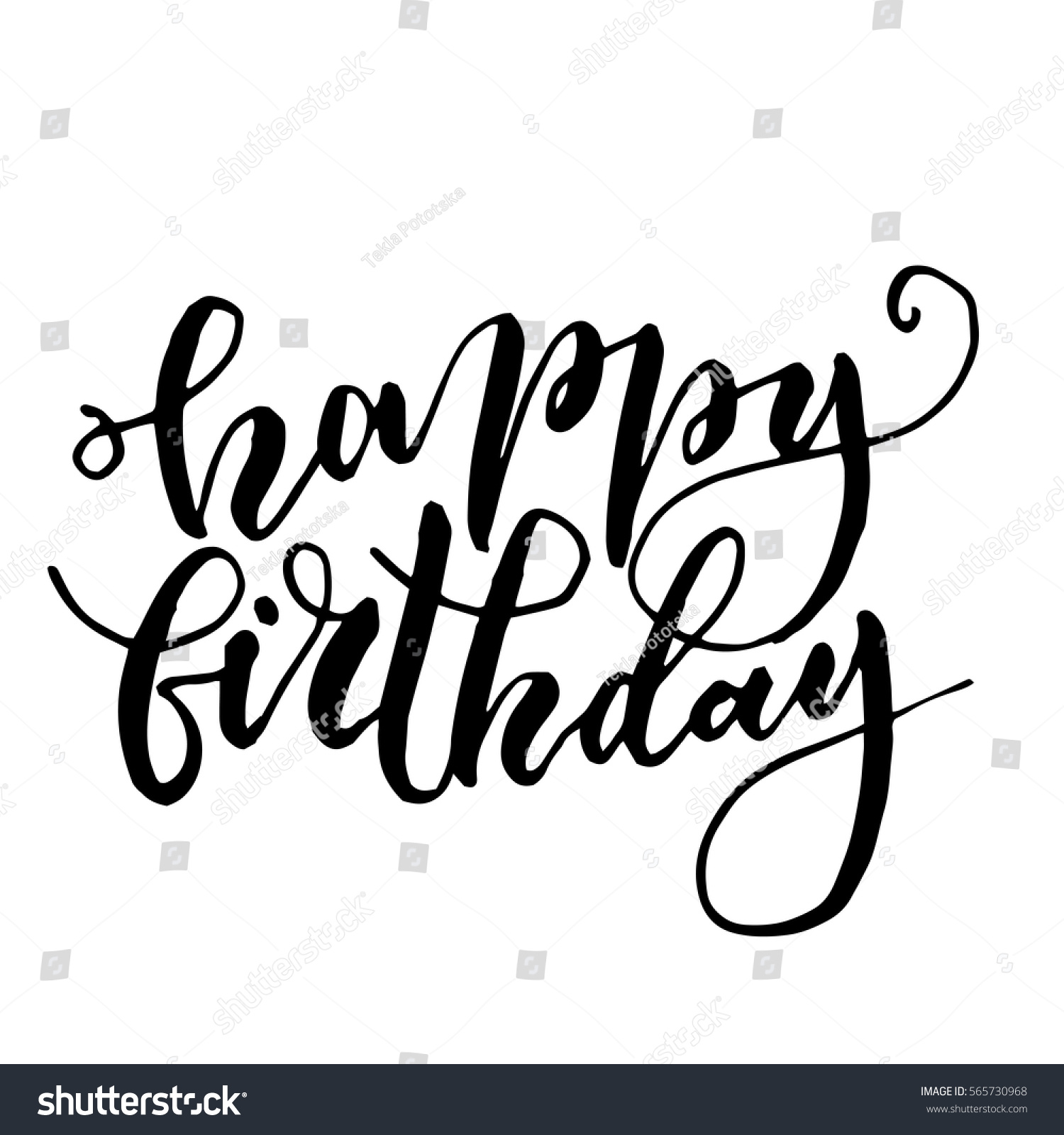 Black ink vector quote happy birthday stock