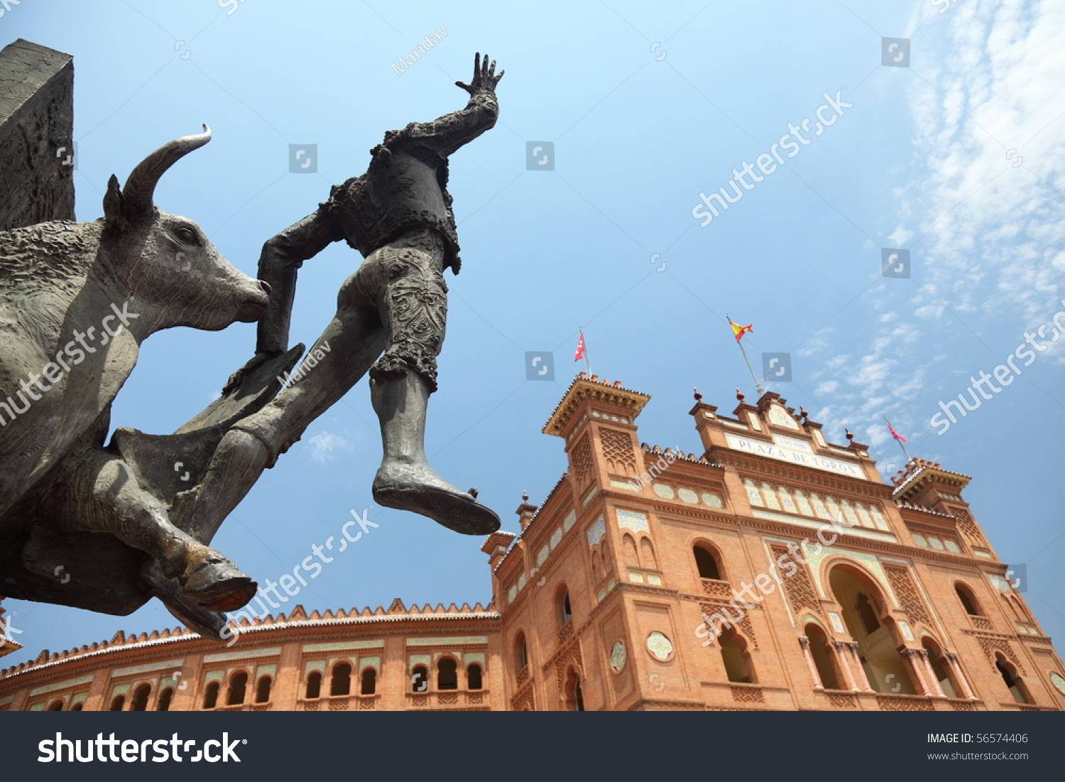 Madrid Landmark. Bullfighter Sculpture In Front Of Bullfighting Arena Plaza D...
