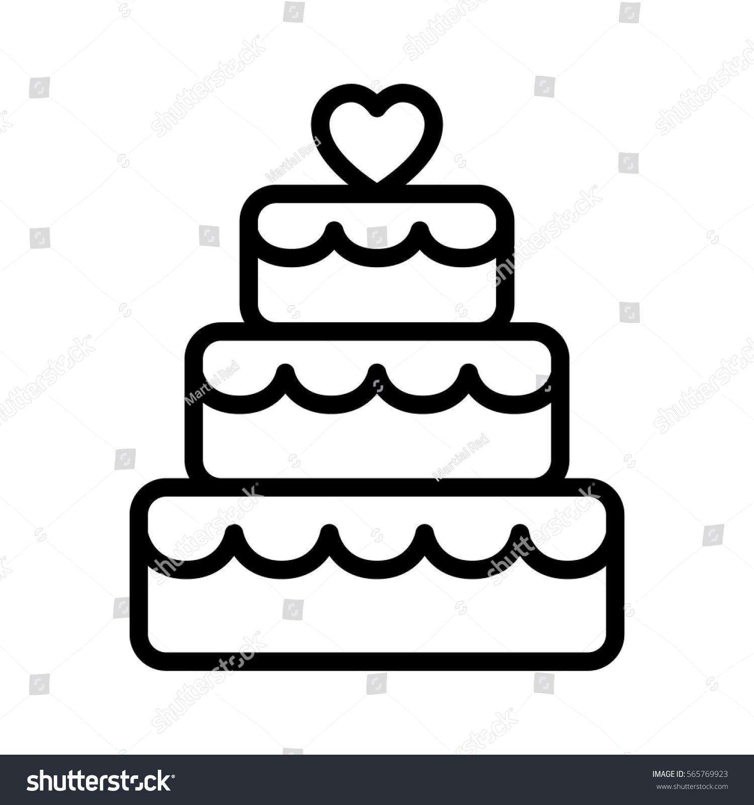 Line Art Icon : Stacked wedding cake dessert heart topper stock vector