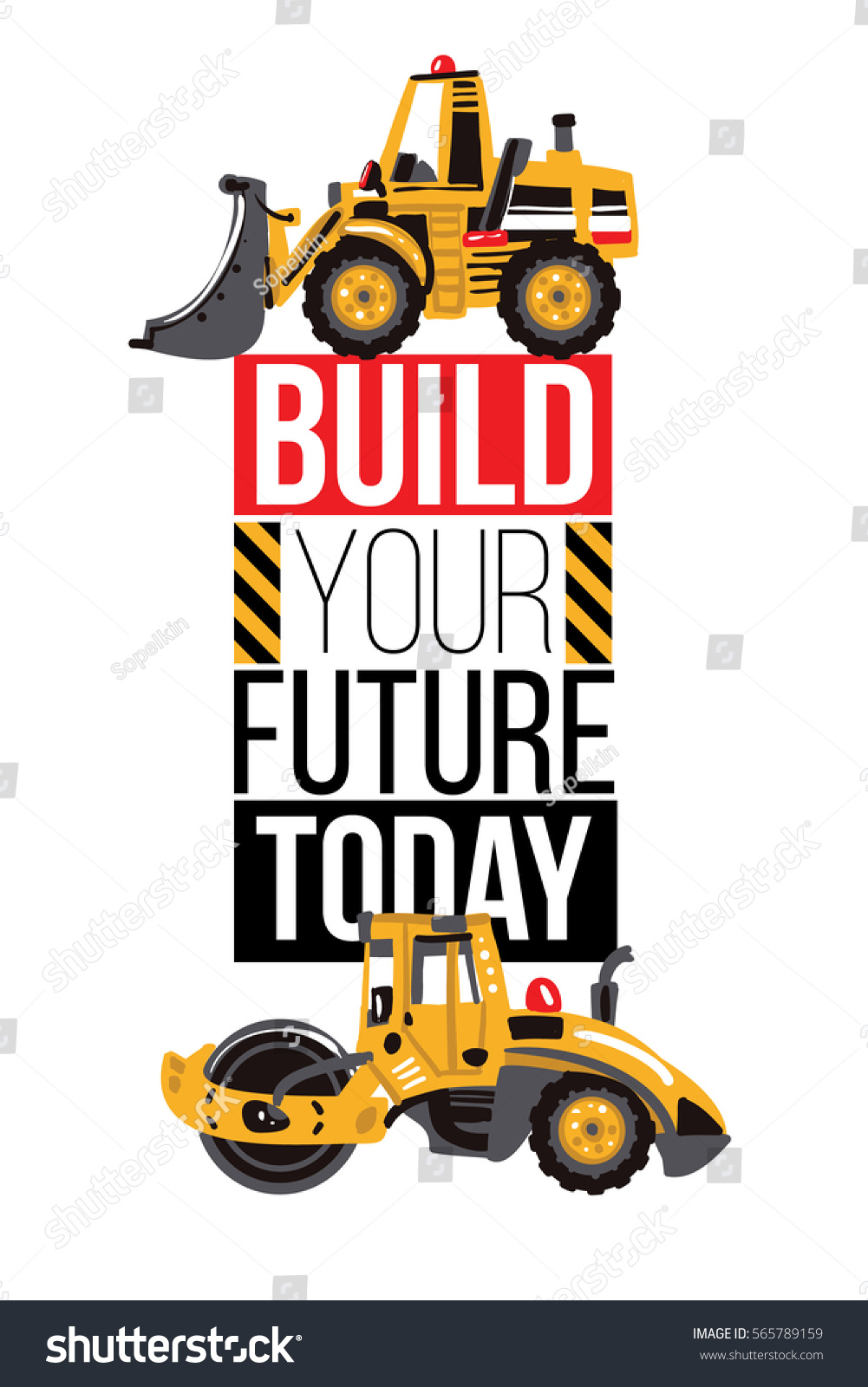 Vertical Banner Composition Bulldozer Tractor Road Stock Vector ...