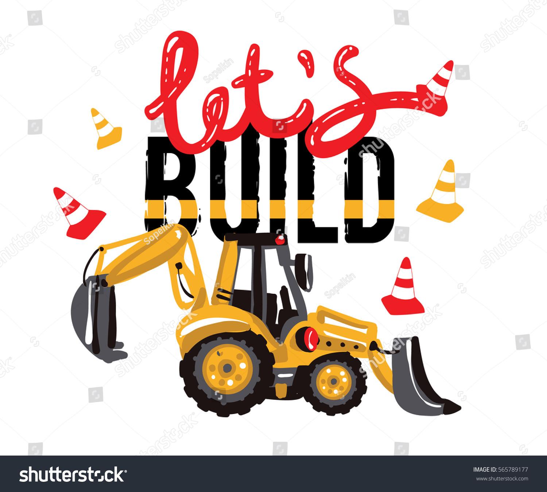 excavator digger tractor backhoe loader lets stock vector