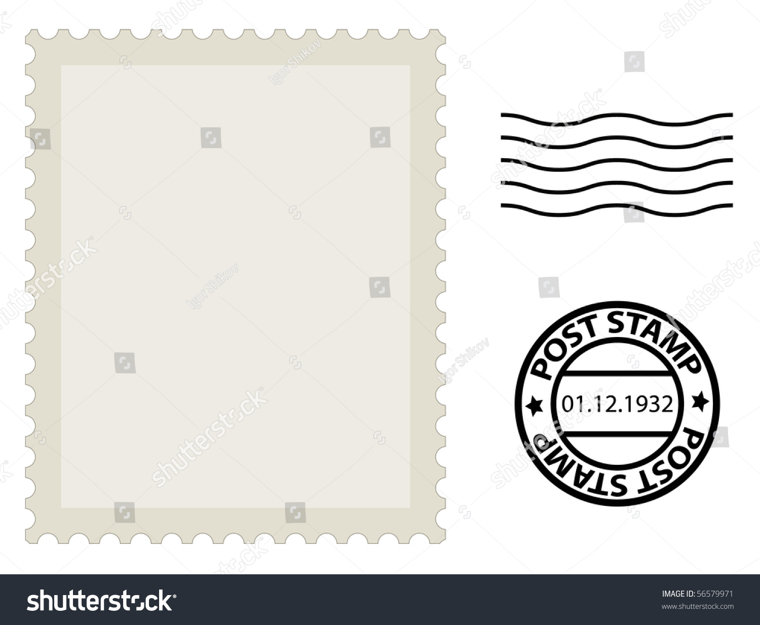 post stamp template stock vector 56579971 shutterstock. Black Bedroom Furniture Sets. Home Design Ideas