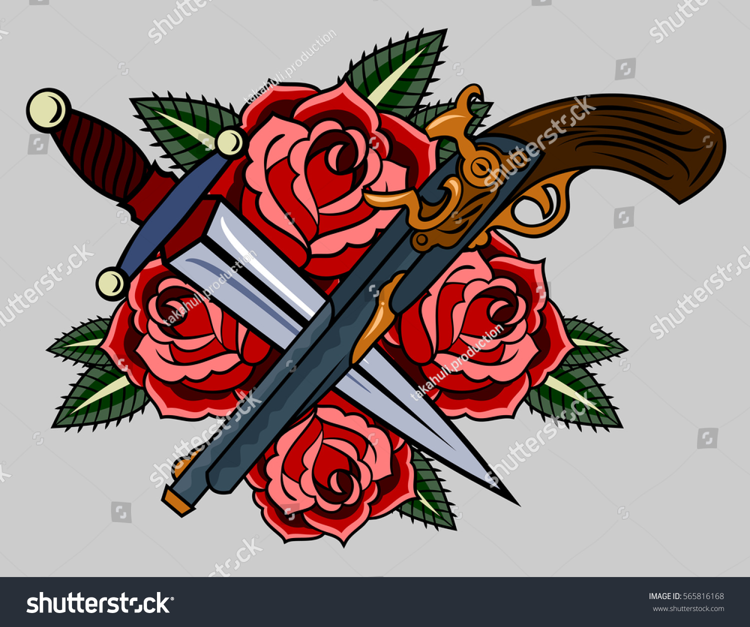 Revolvers Red Roses Old School Tattoo Stock Vector Royalty Free