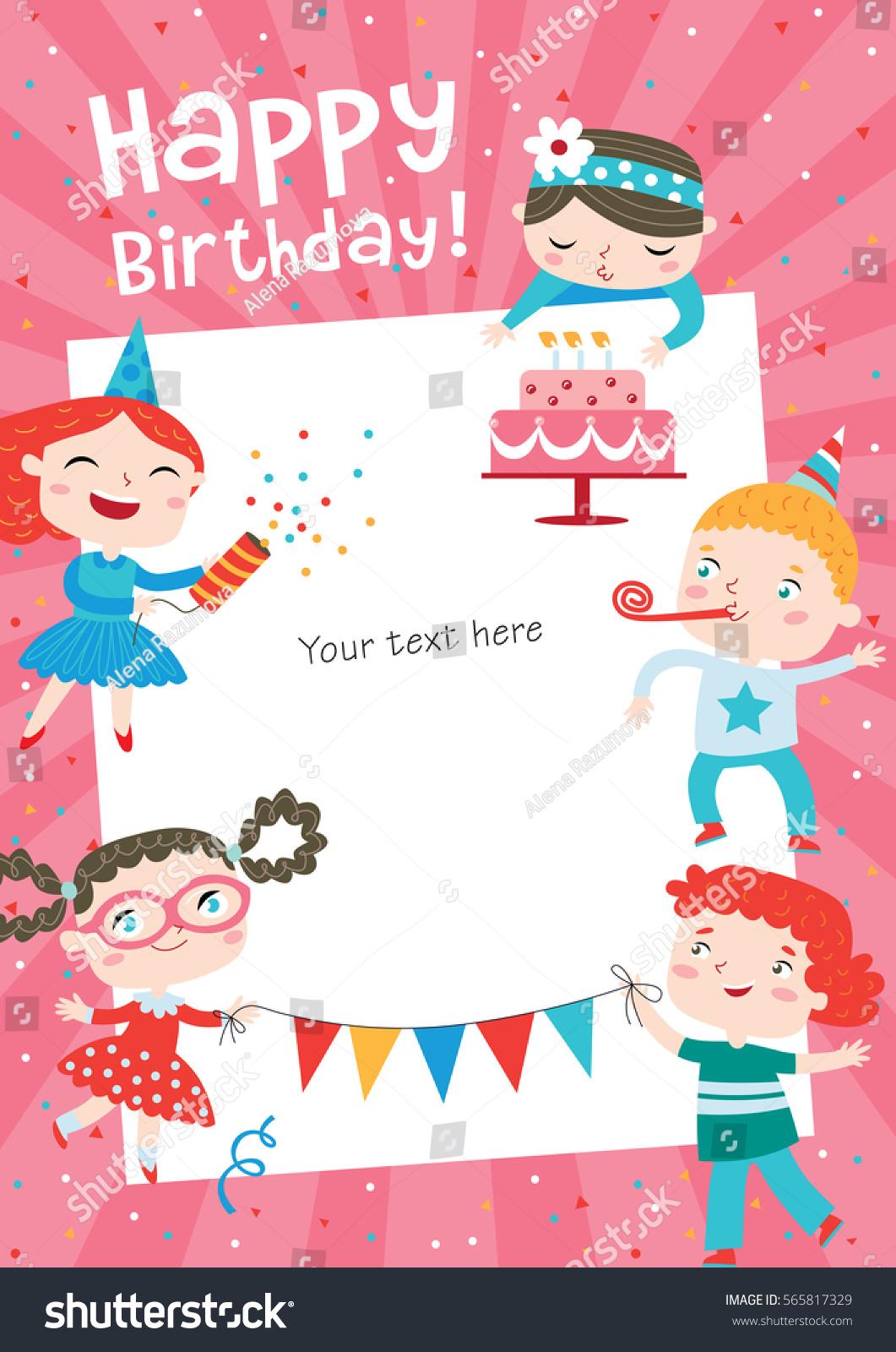 Children Having Fun Birthday Party Template Stock Vector Royalty