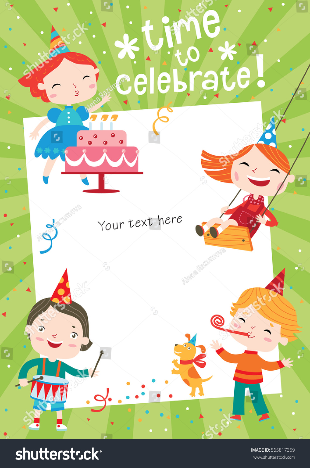 Children having fun birthday party template stock vector 565817359 children having fun at birthday party template for making birthday cards posters invitation stopboris Images