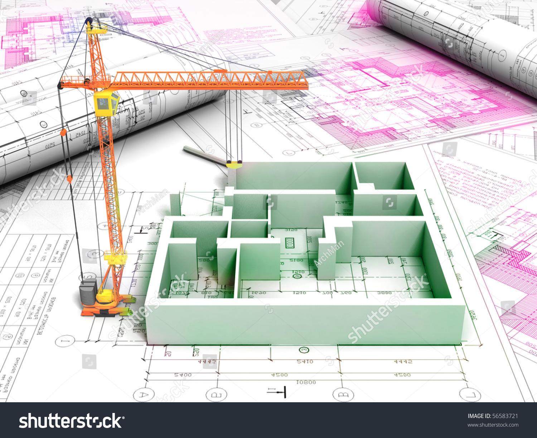 3d Plan Drawing Stock Photo 56583721 Shutterstock