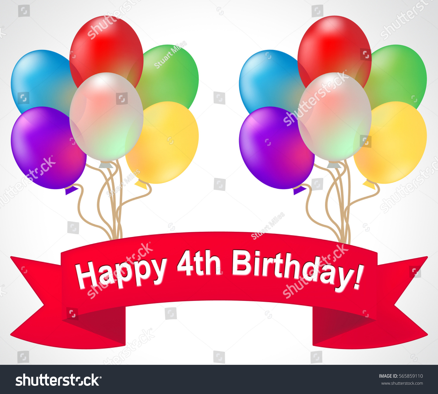 Meaning of fourth - Happy Fourth Birthday Balloons Meaning 4th Party Celebration 3d Illustration