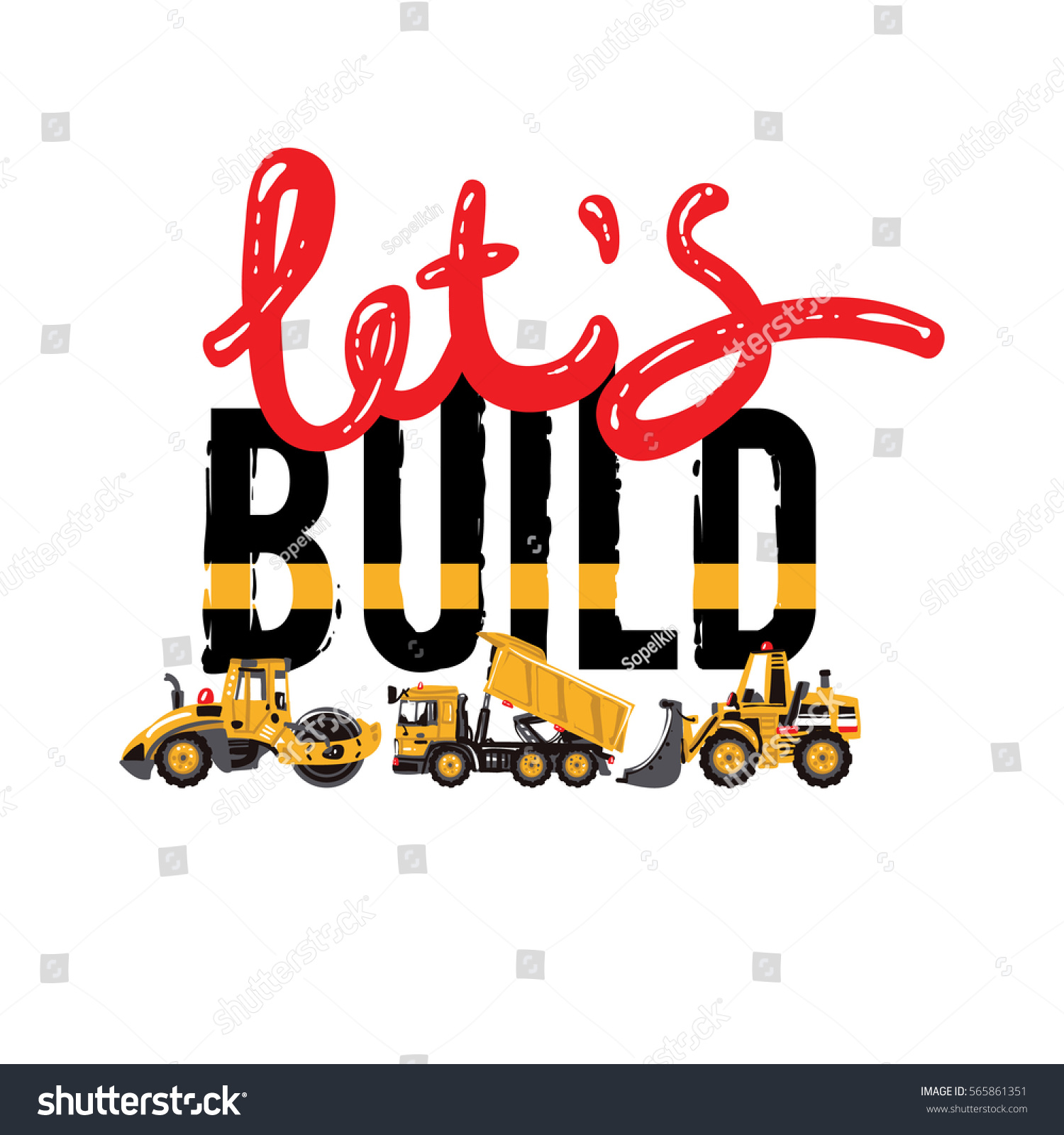 Vector Composition Road Roller Bulldozer Dumper Stock Vector ...