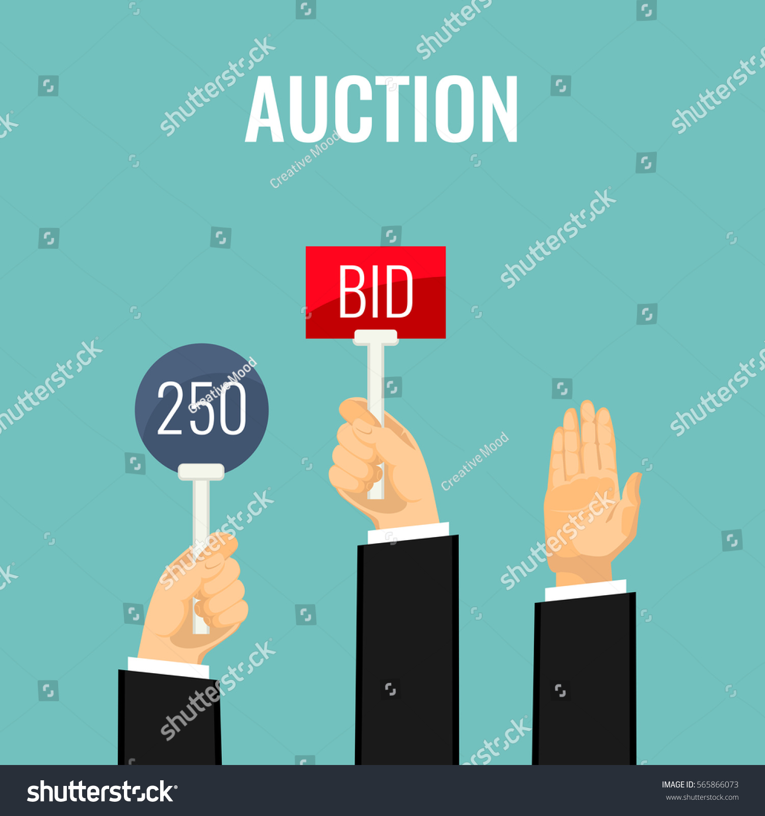Auction Meeting Hands Holding Paddles Number Stock Vector ...