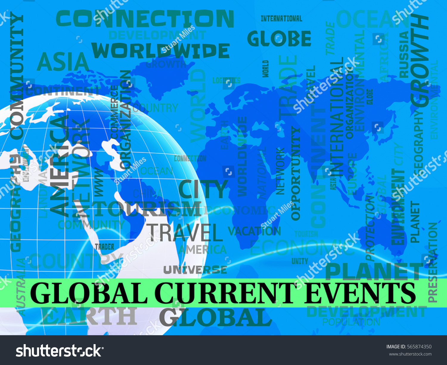 Global Current Events Map Indicating World Stock Illustration - Current world map
