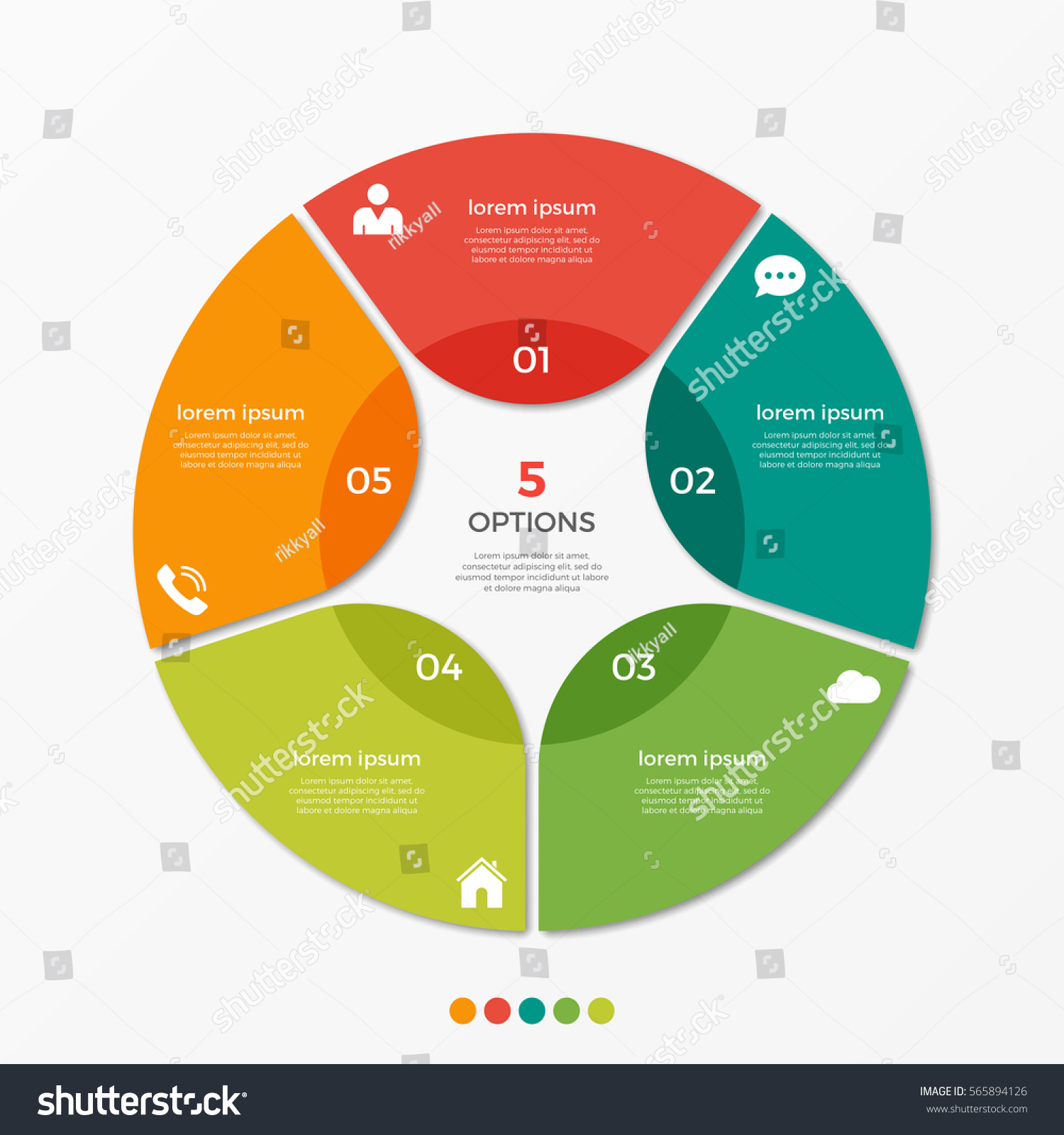 circle chart infographic template 5 options のベクター画像素材