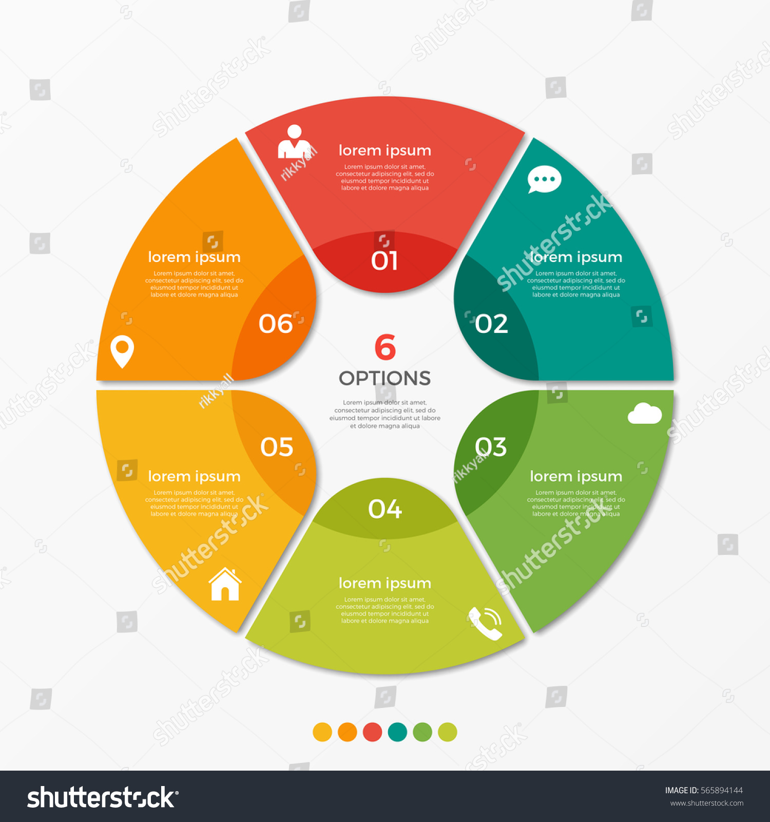 circle chart infographic template 6 options のベクター画像素材