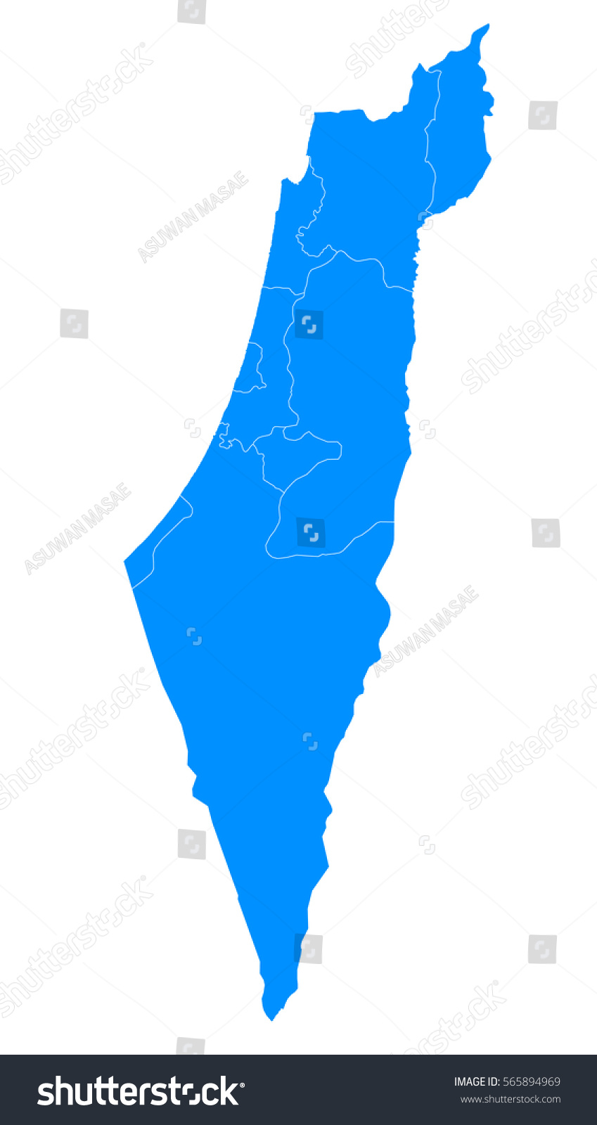 Blue Map Israel Stock Vector Shutterstock - Isreal map