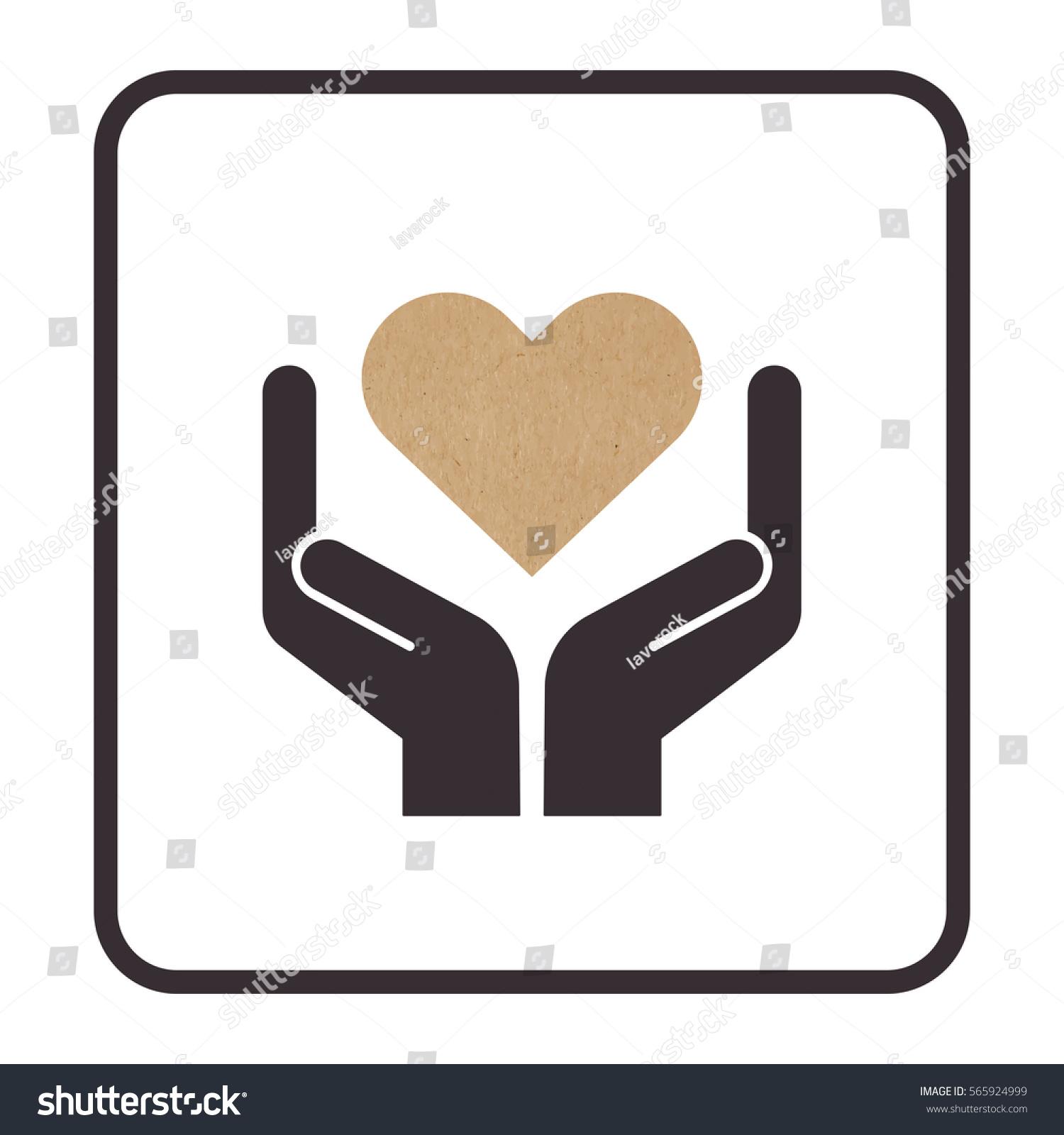 Vector illustration handle care symbol valentine stock vector vector illustration of handle with care symbol valentine card hands holding craft paper heart buycottarizona