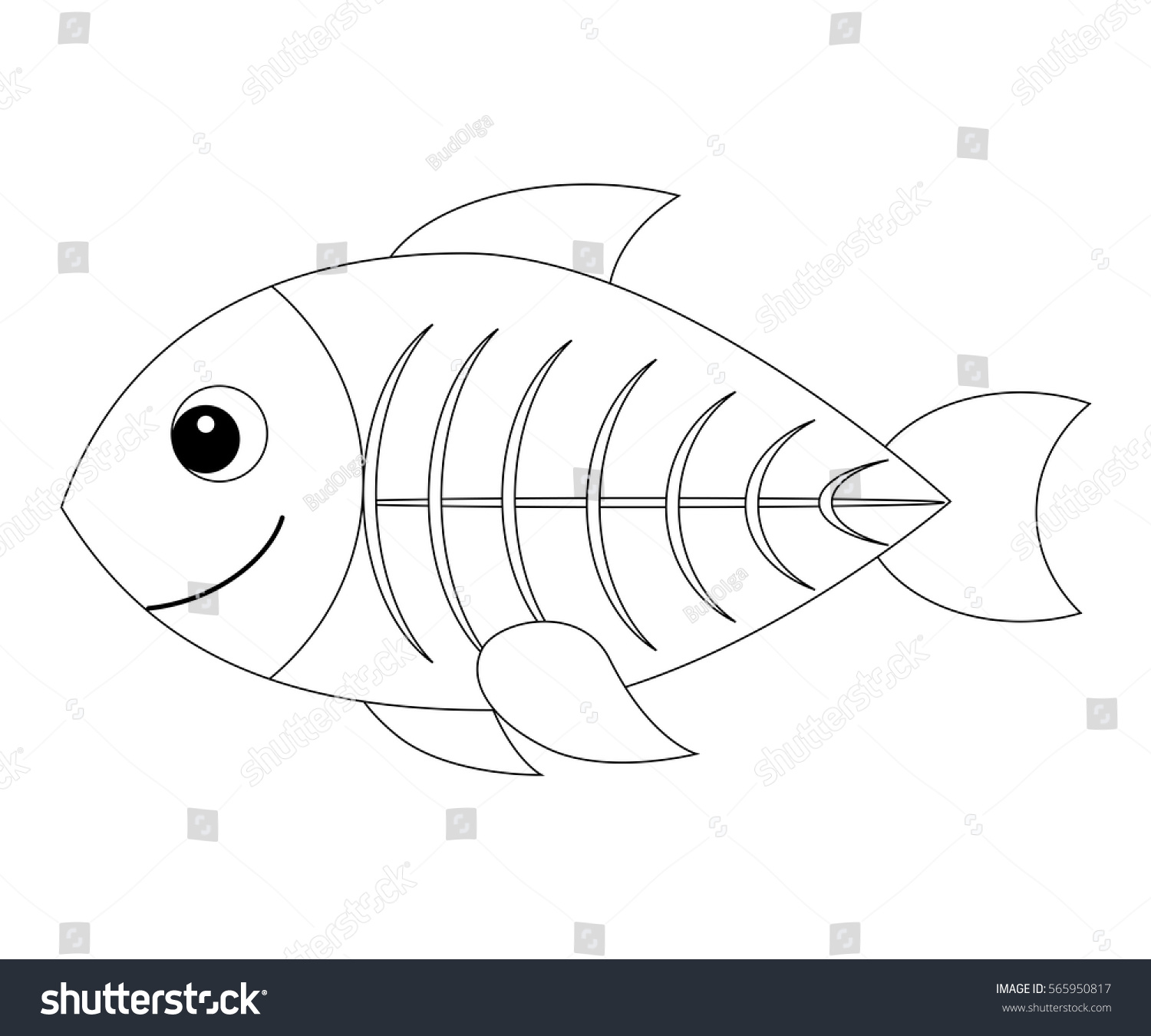 X ray coloring page - Colorless Cartoon X Ray Fish Coloring Page For Preschool Children