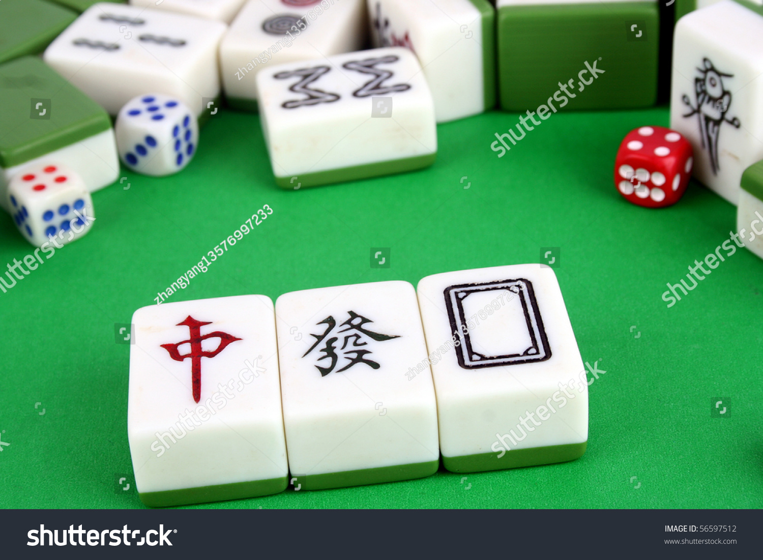 Mahjong Tiles Aligned Two Dices Stock Photo Edit Now 56597512