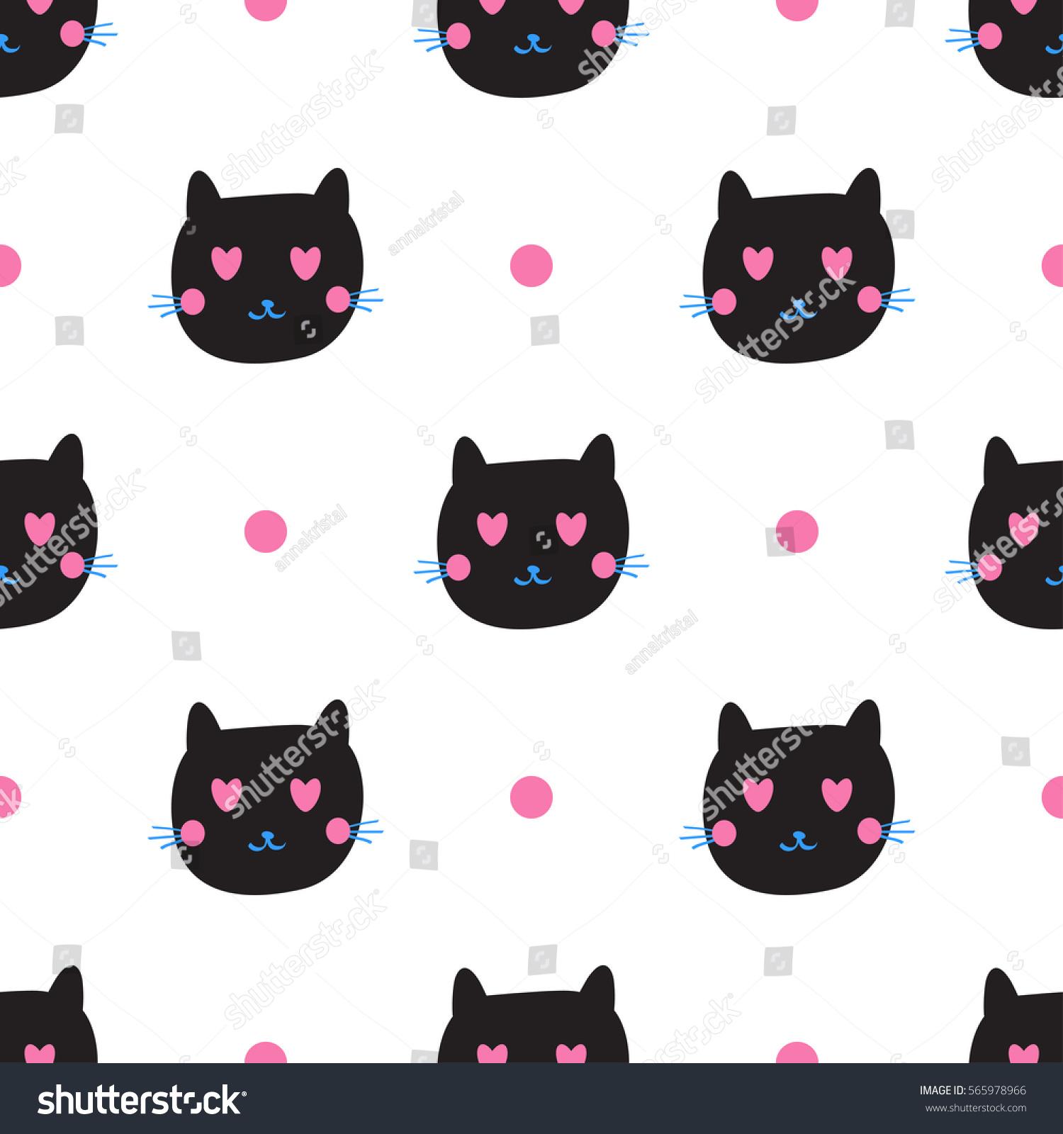 Cute Black Cat Emotions Seamless Pattern Stock Vector 565978966 ...