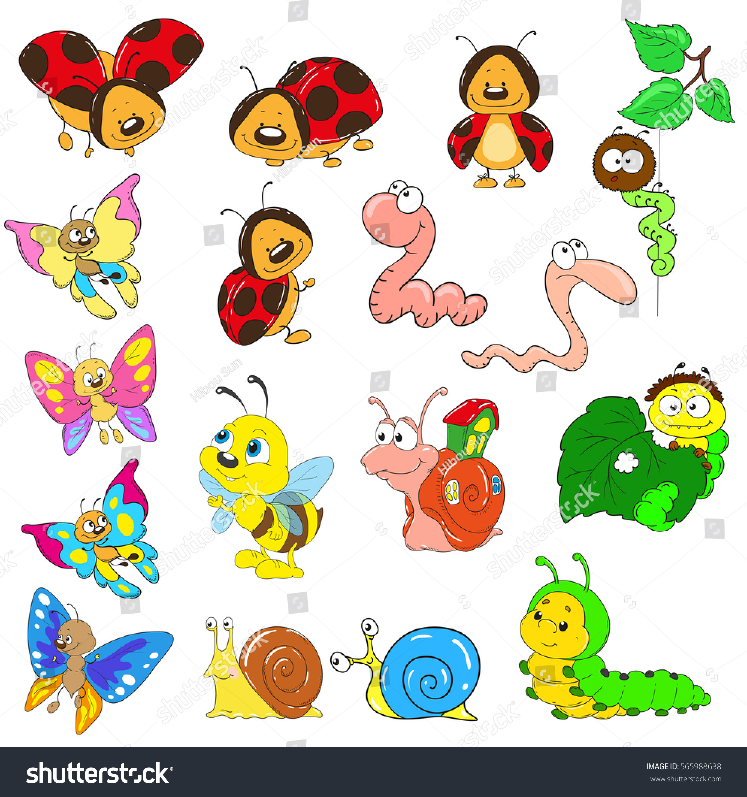 set cartoon characters on white background stock vector 565988638