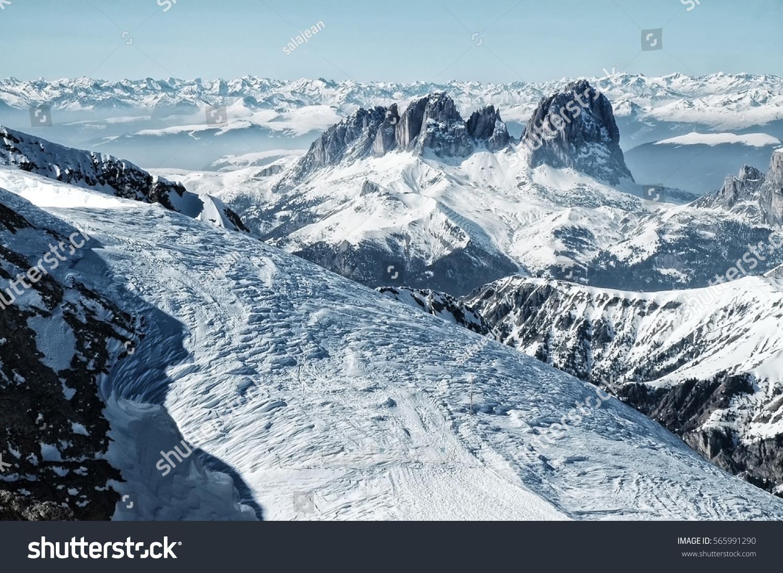ski resort italian dolomites view marmolada stock photo (edit now