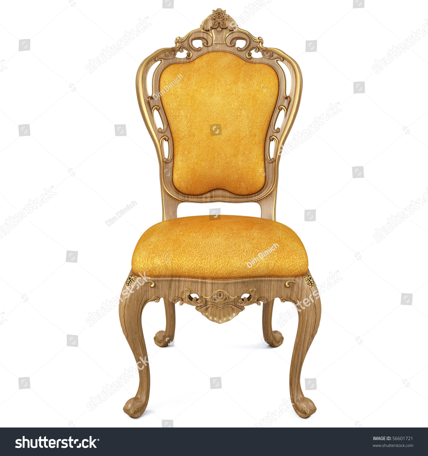 Beautiful Classic Chair Isolated White Stock Illustration