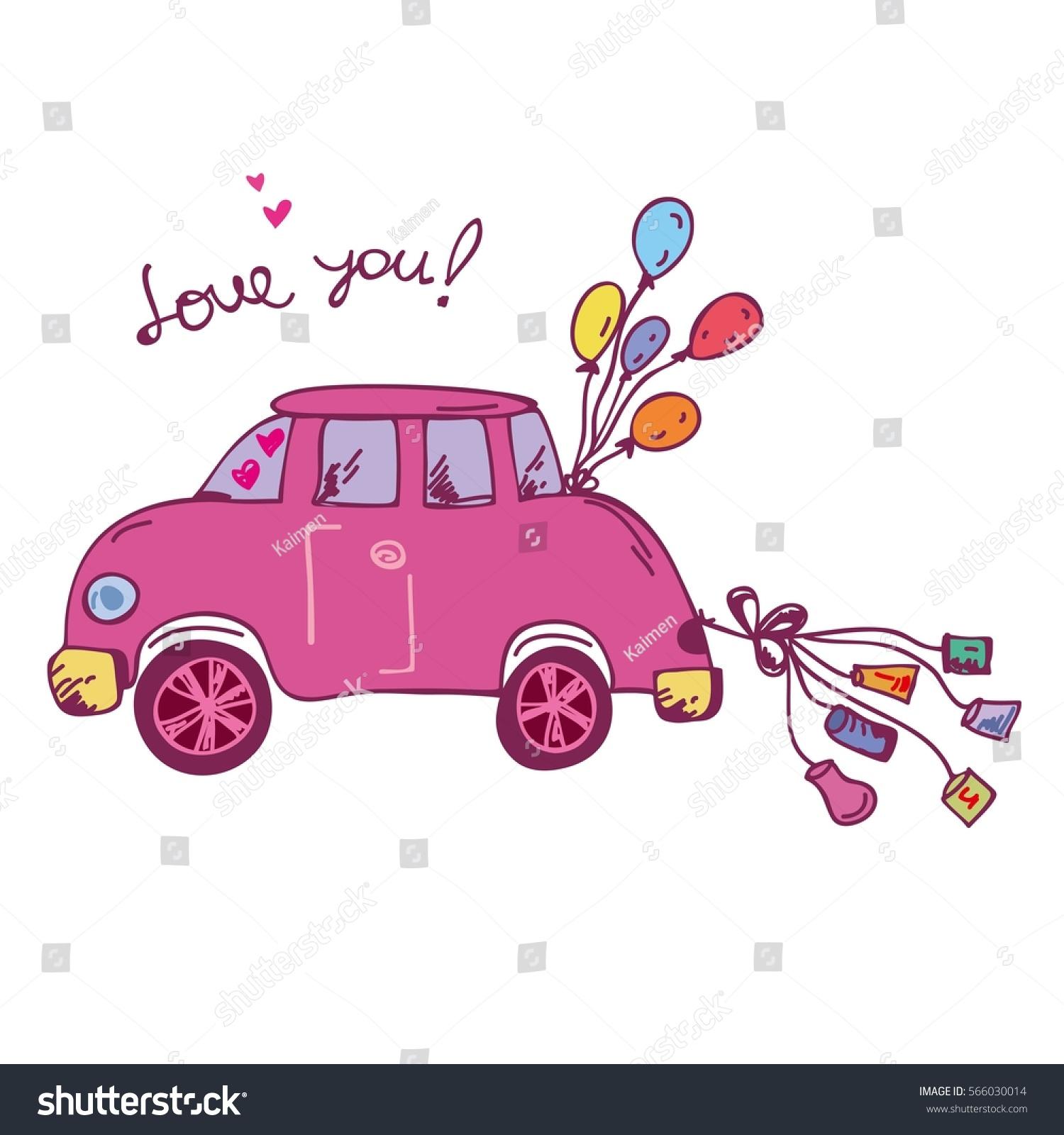 Hand Drawn Pink Wedding Car Vector Stock Vector (Royalty Free ...