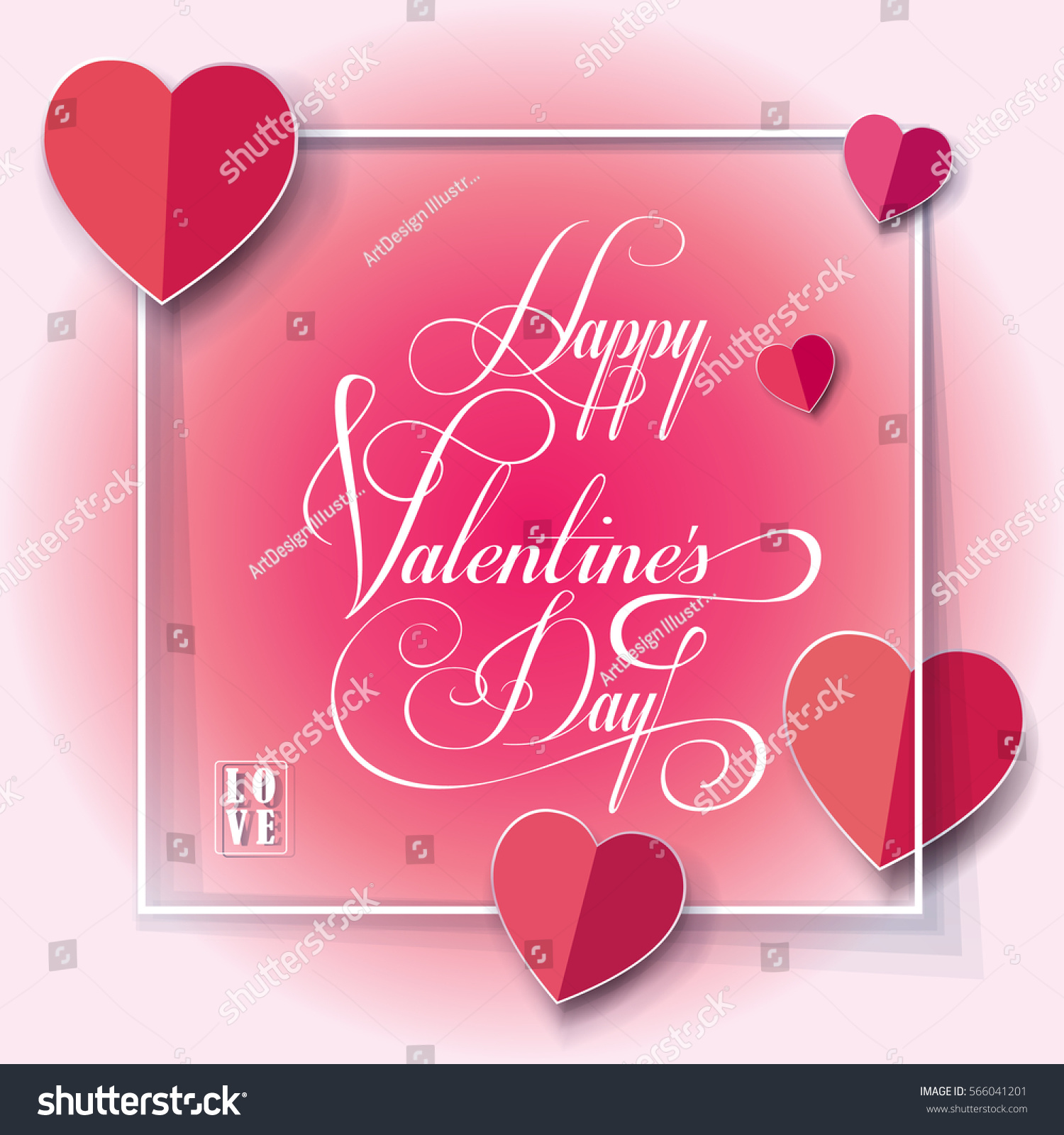 Happy Valentines Day Greeting Card Vector Template Romantic Poster