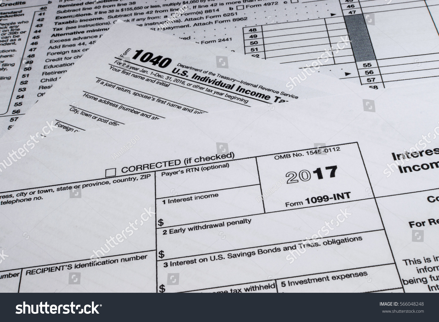 Shot Irs Form 1099int Interest Income Stock Photo 566048248 ...
