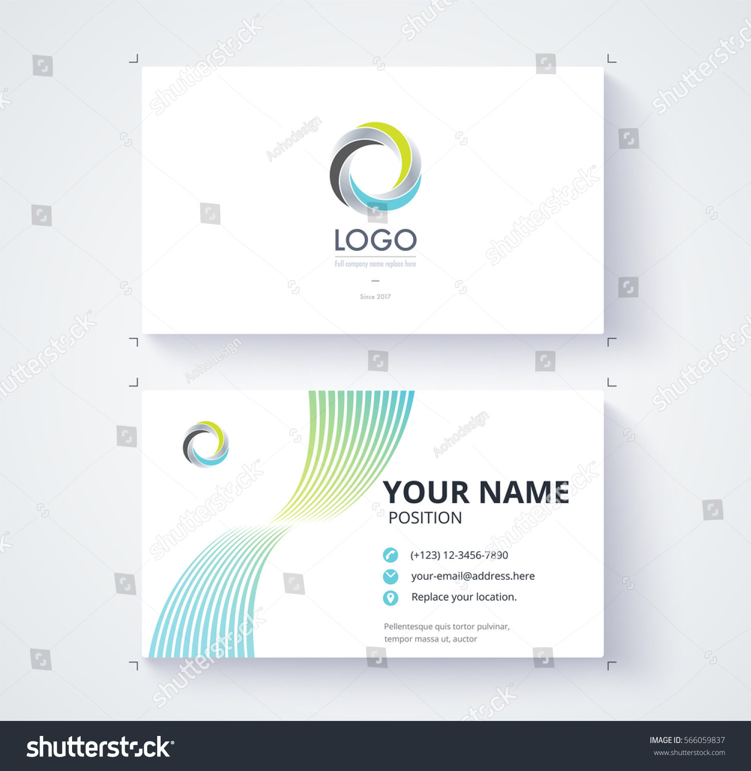 Business Card Template. Abstract Motion Line Design. Vector Illustration  Line Card Template