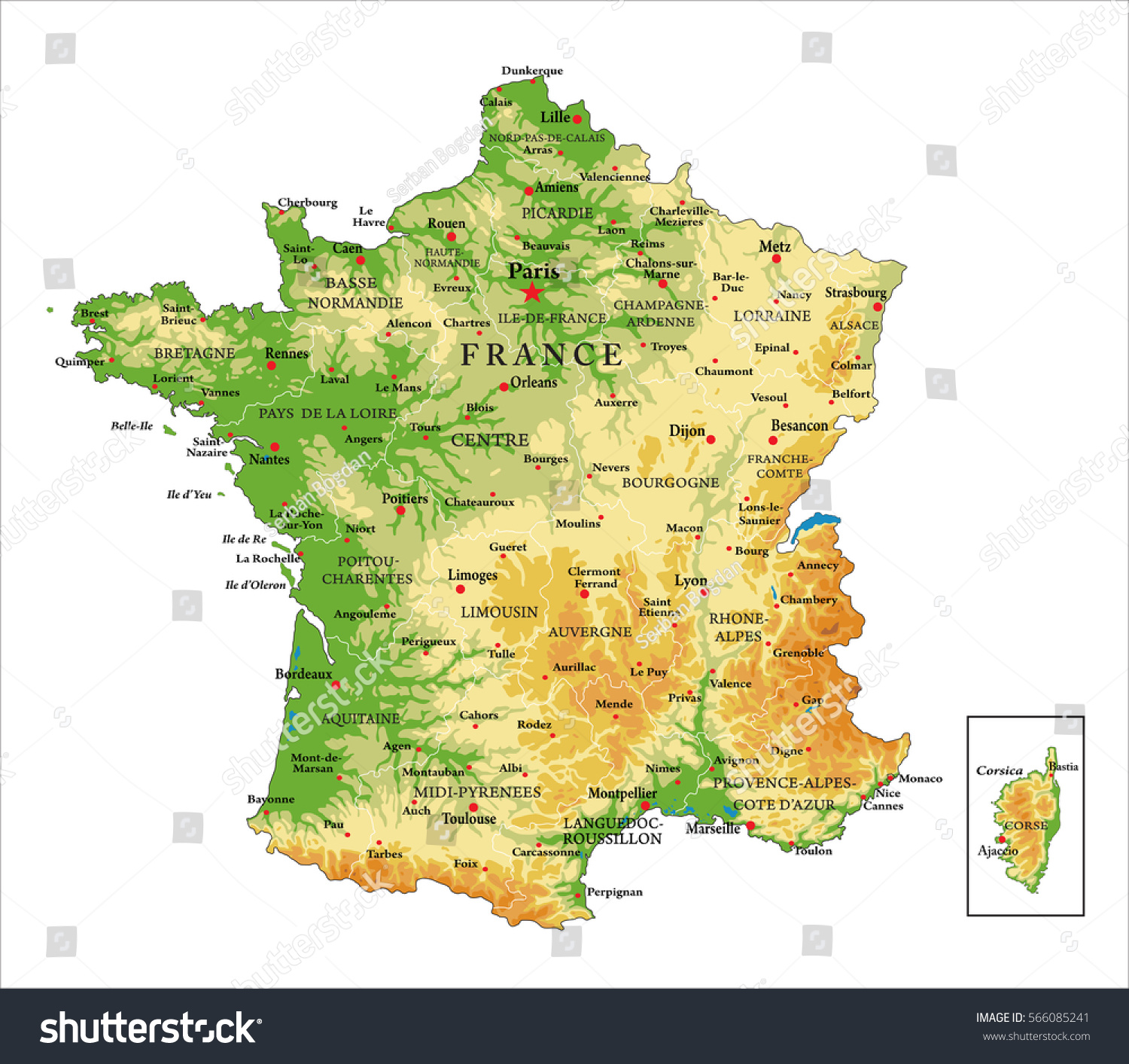 Evreux France Map.Francephysical Map Stock Vector Royalty Free 566085241 Shutterstock