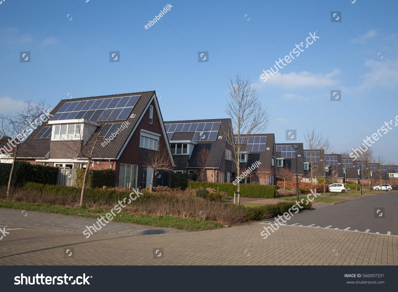 Modern House Solar Panels Alternative Energy Stock Photo