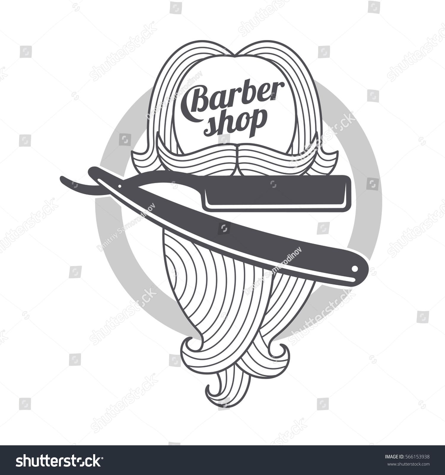 Barber Shop Logo Templates Hair Beard Stock Vector