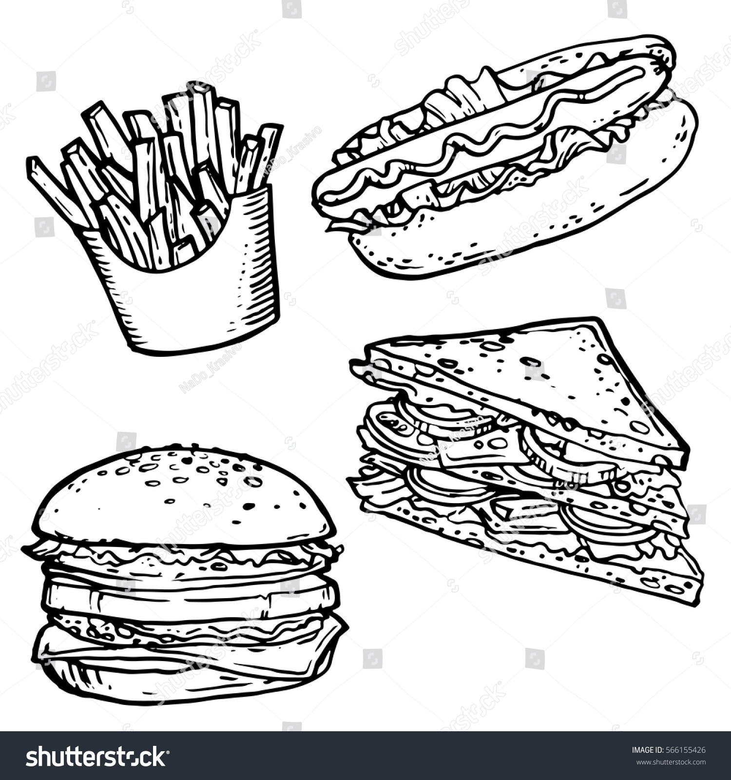 Fast food hand drawn stock vector stock vector 566155426 for Coloring pages of fast food