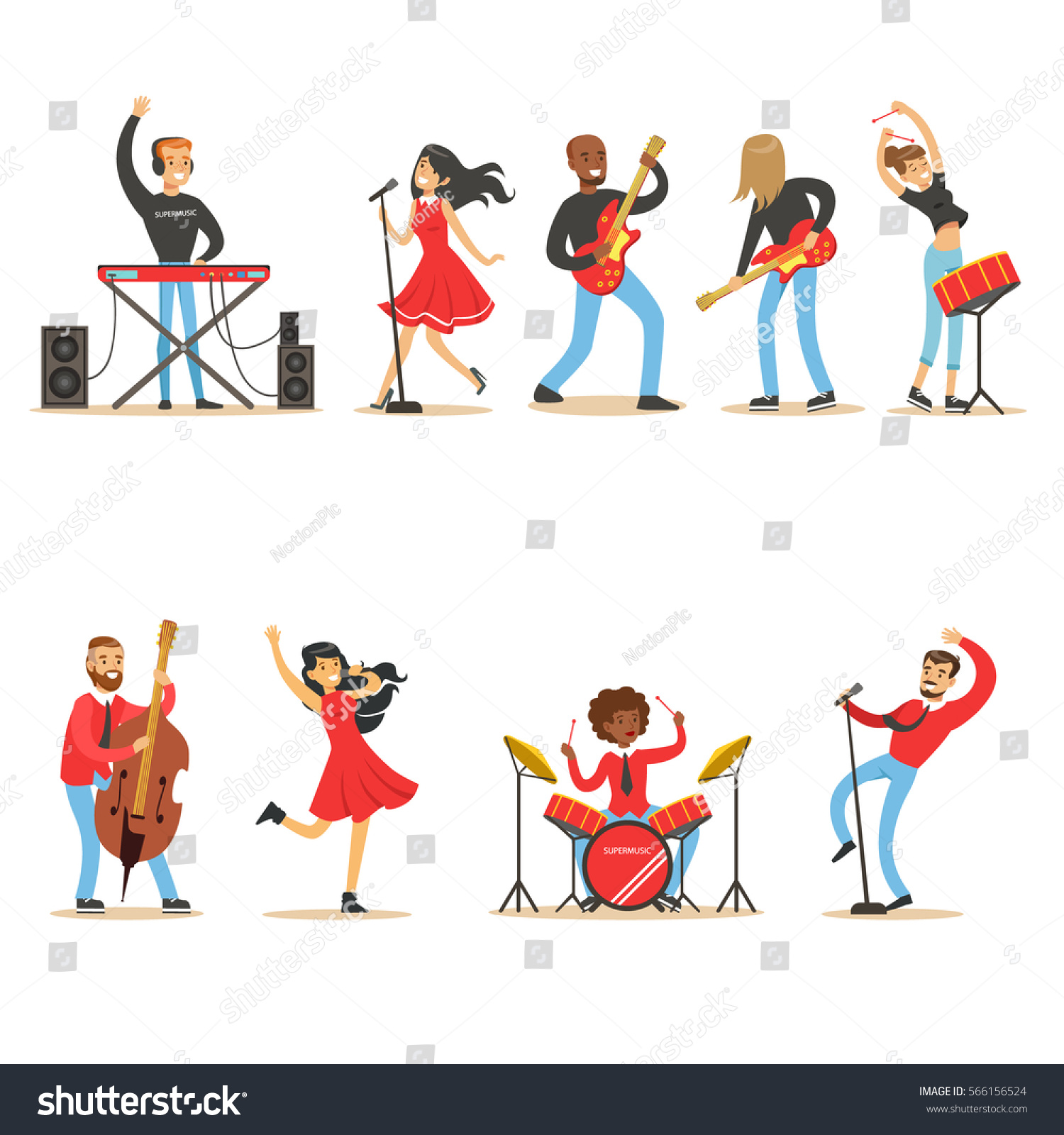 Kid N Play Cartoon Characters : Artists playing music instruments singing on stock vector