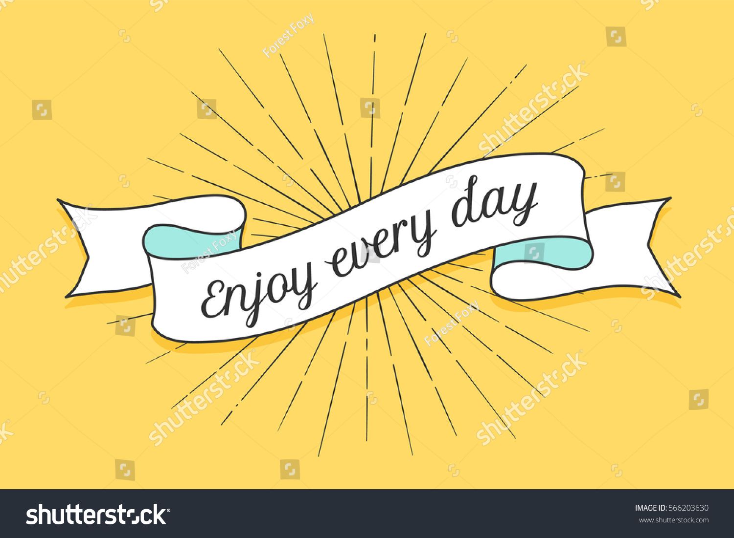Ribbon text enjoy every day colorful stock vector - Text banner design ...